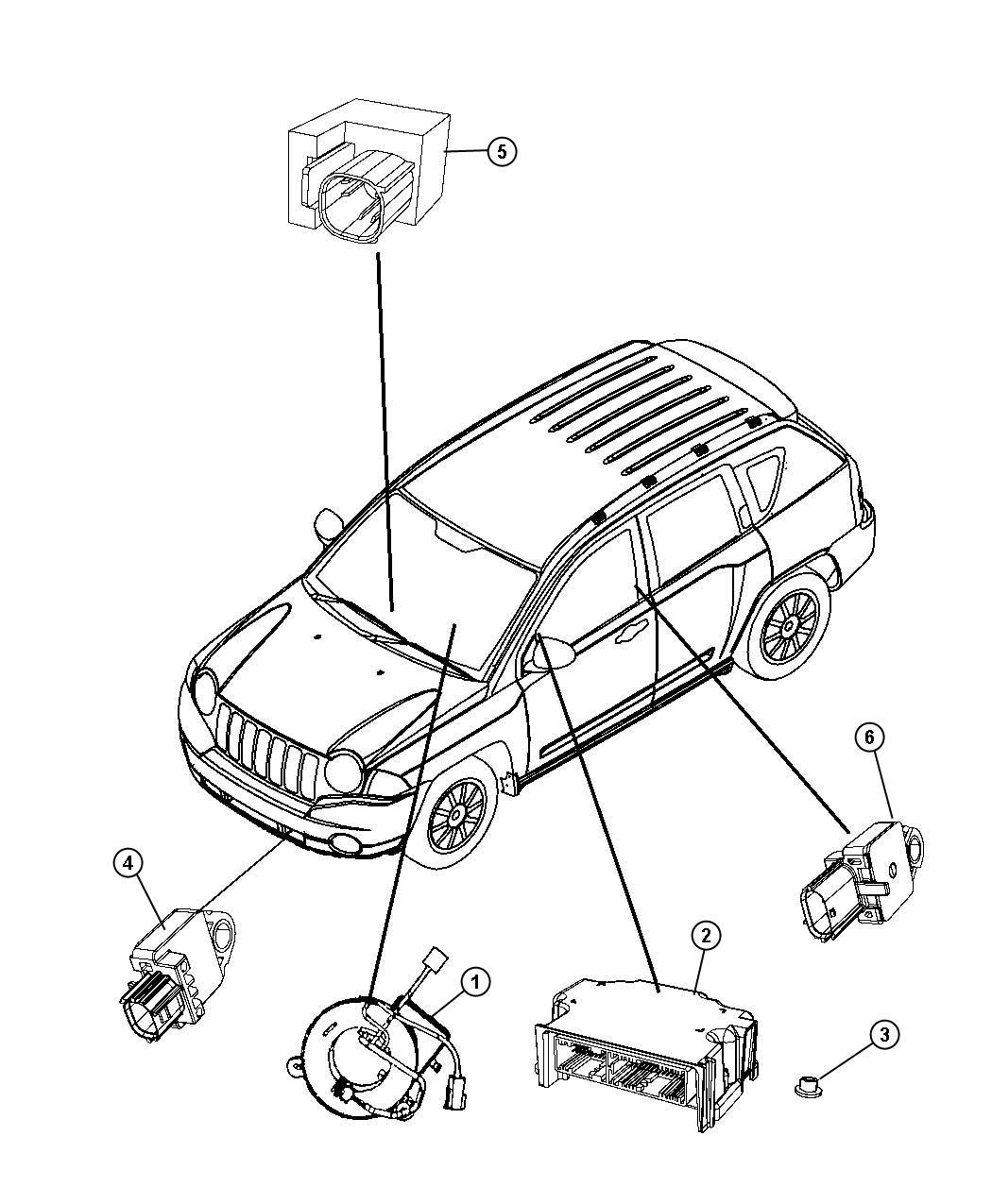 2011 Dodge Caliber Air Bag Modules, Impact Sensors and