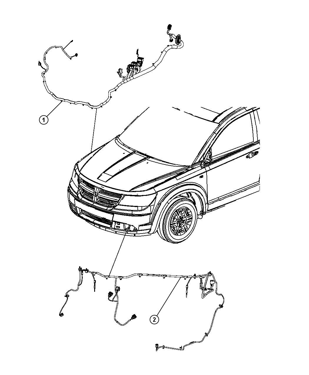 Dodge Journey Wiring. Front end module. [headlamp washer