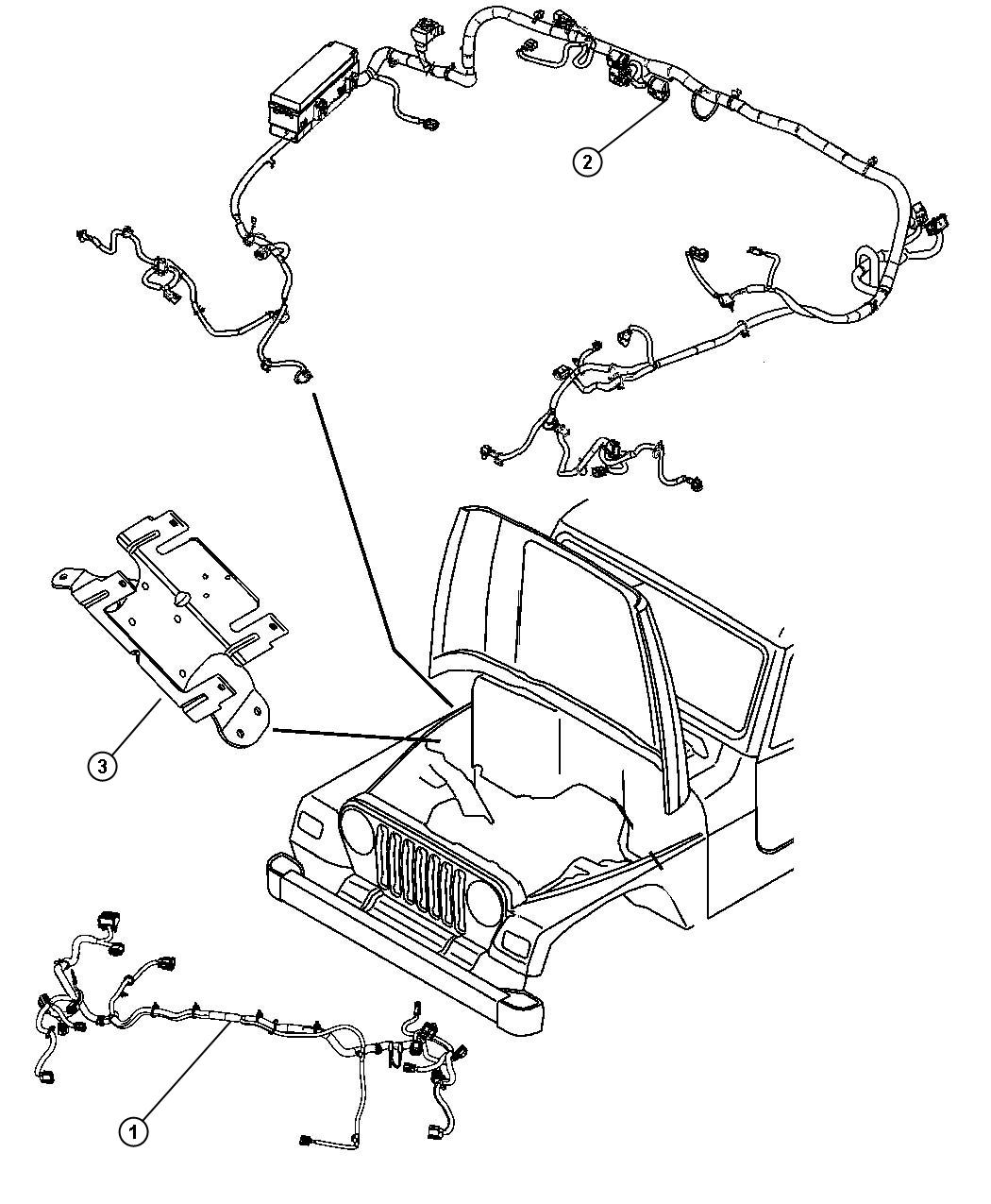 Jeep Wrangler Wiring. Headlamp. Export. [front end parts