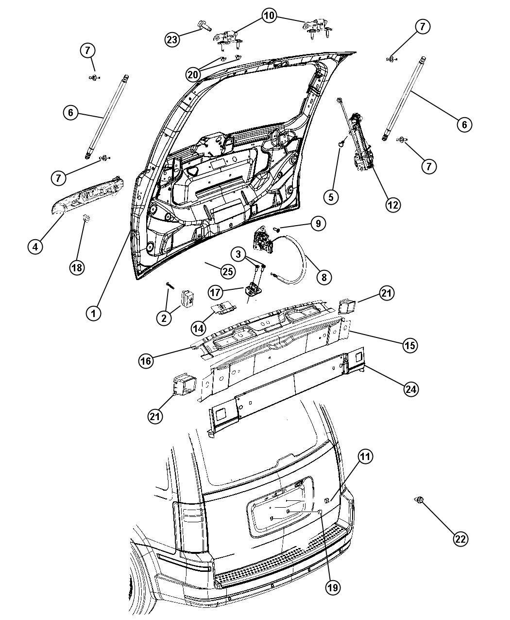 Dodge Grand Caravan Handle. Liftgate. [vg] without