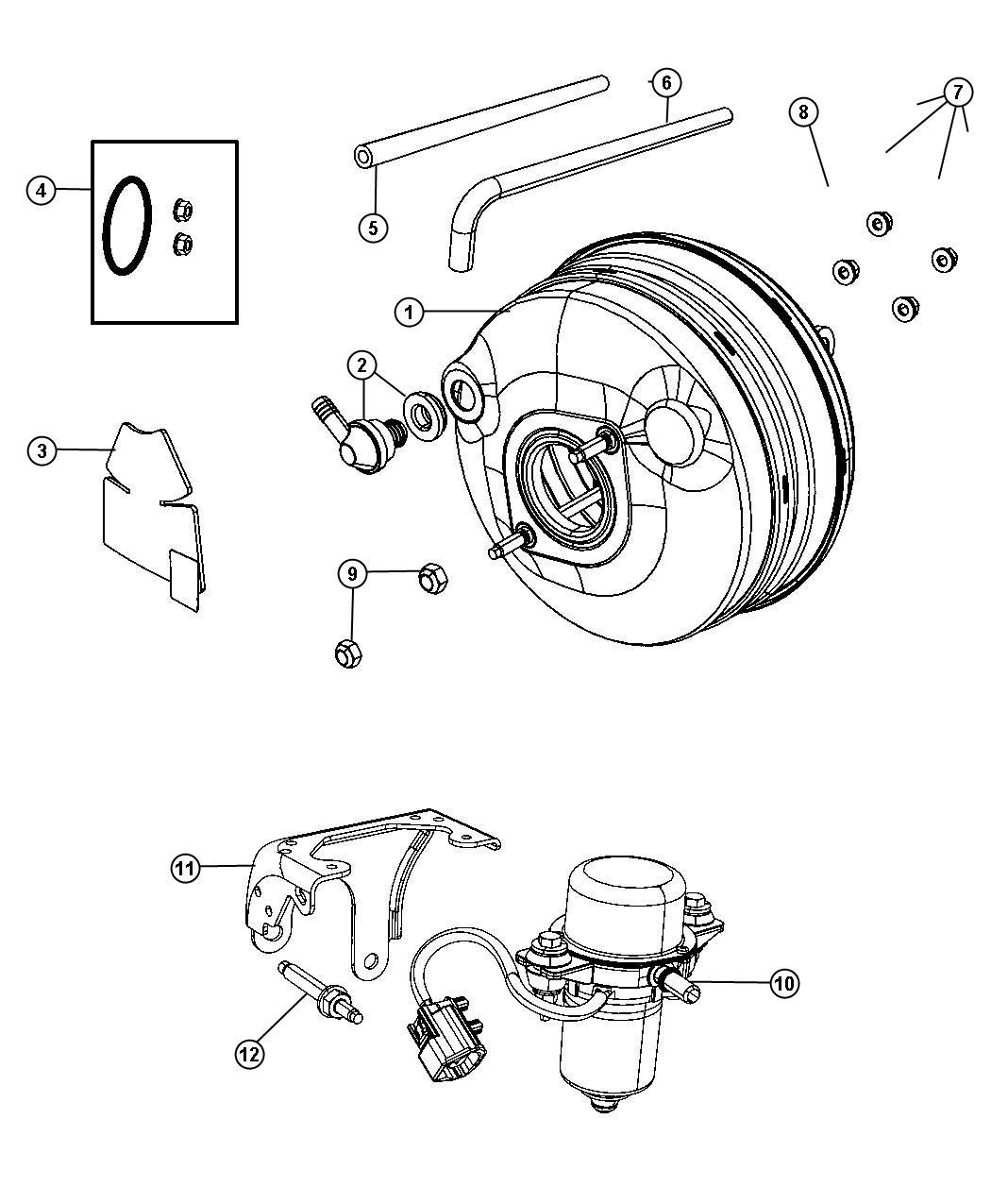 Dodge Grand Caravan Hose Brake Booster Right Hand Drive