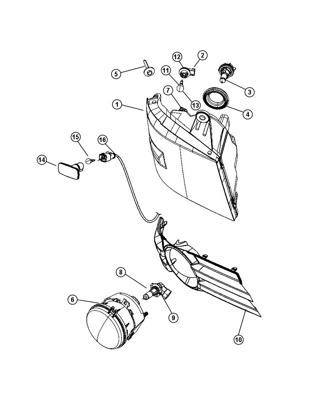 Dodge Grand Caravan Wiring. Side repeater lamp. Export