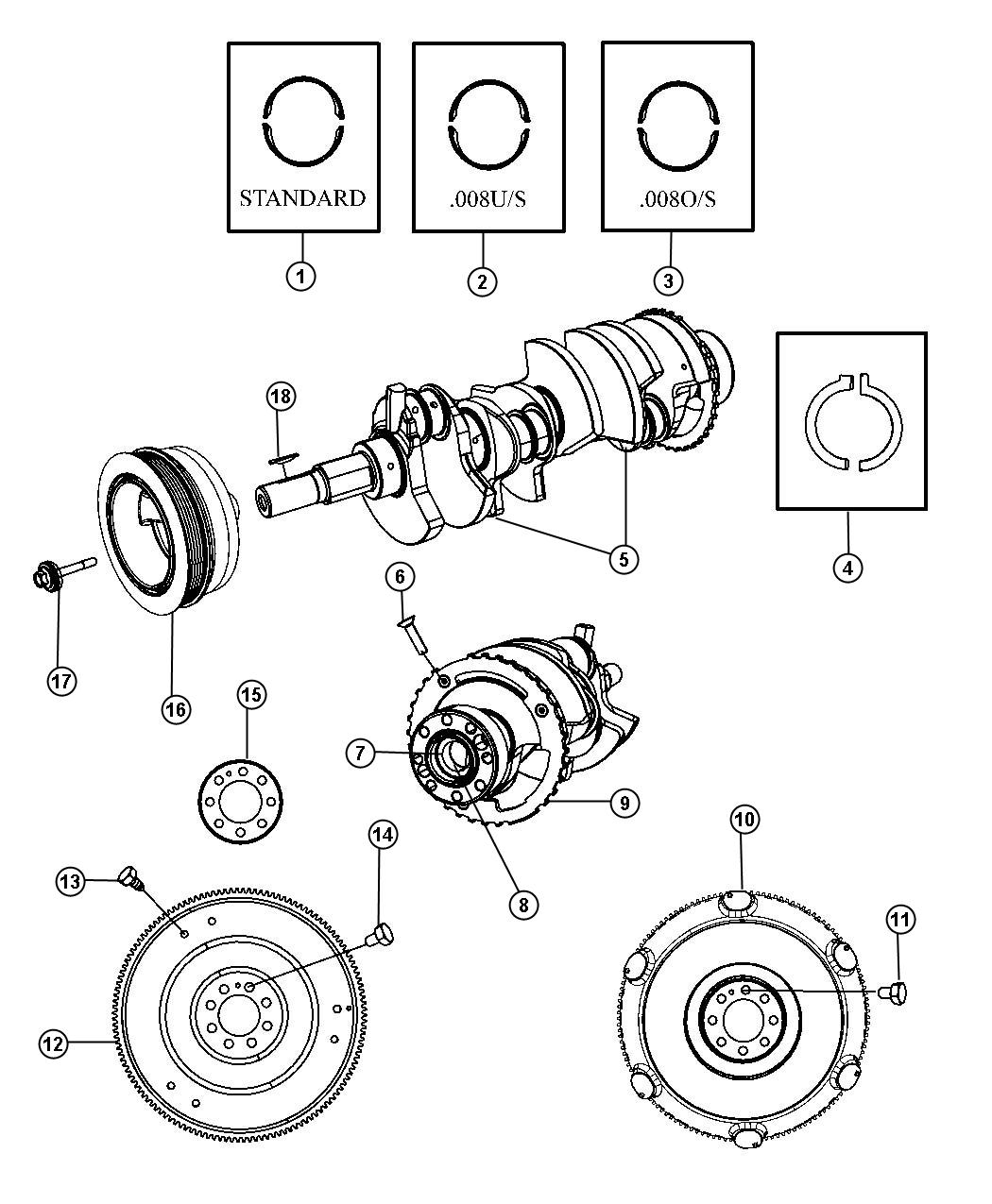 Dodge Challenger Flywheel. Mounting. Manual transmission