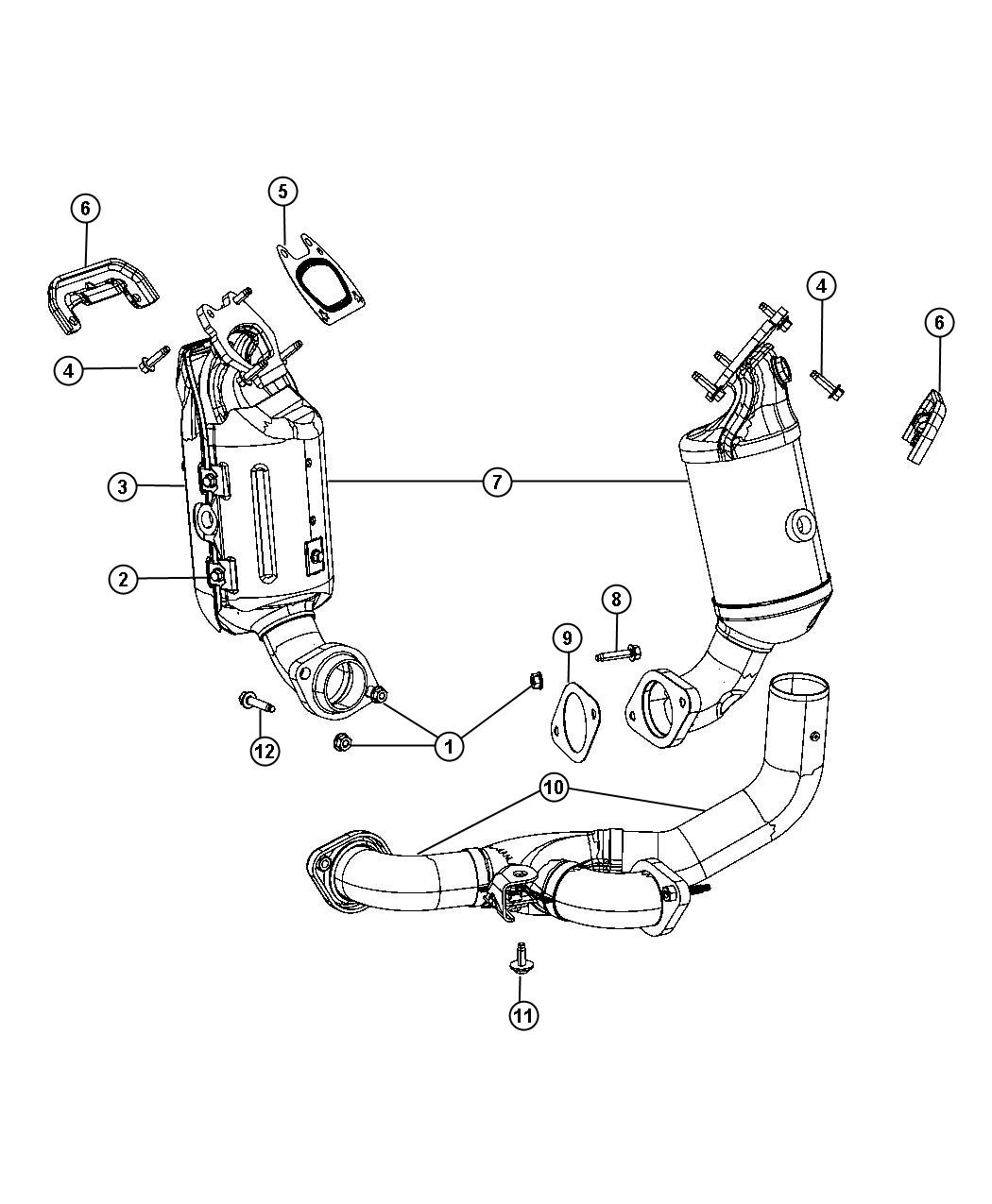 2014 Chrysler Manifold. Used for: exhaust and catalytic