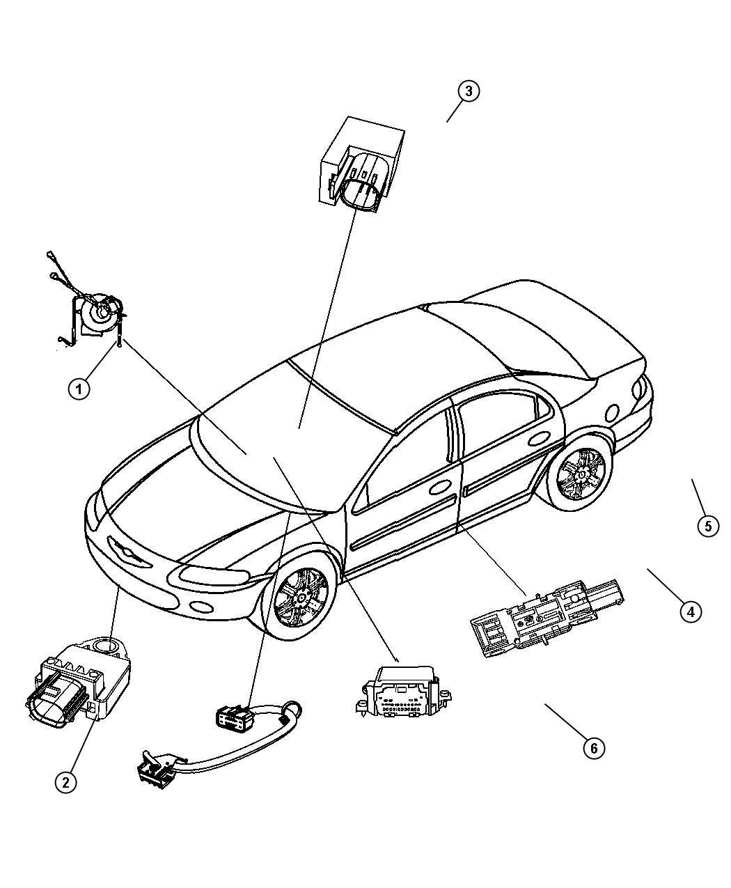 2012 Dodge Avenger Air Bag Modules, Impact Sensors and