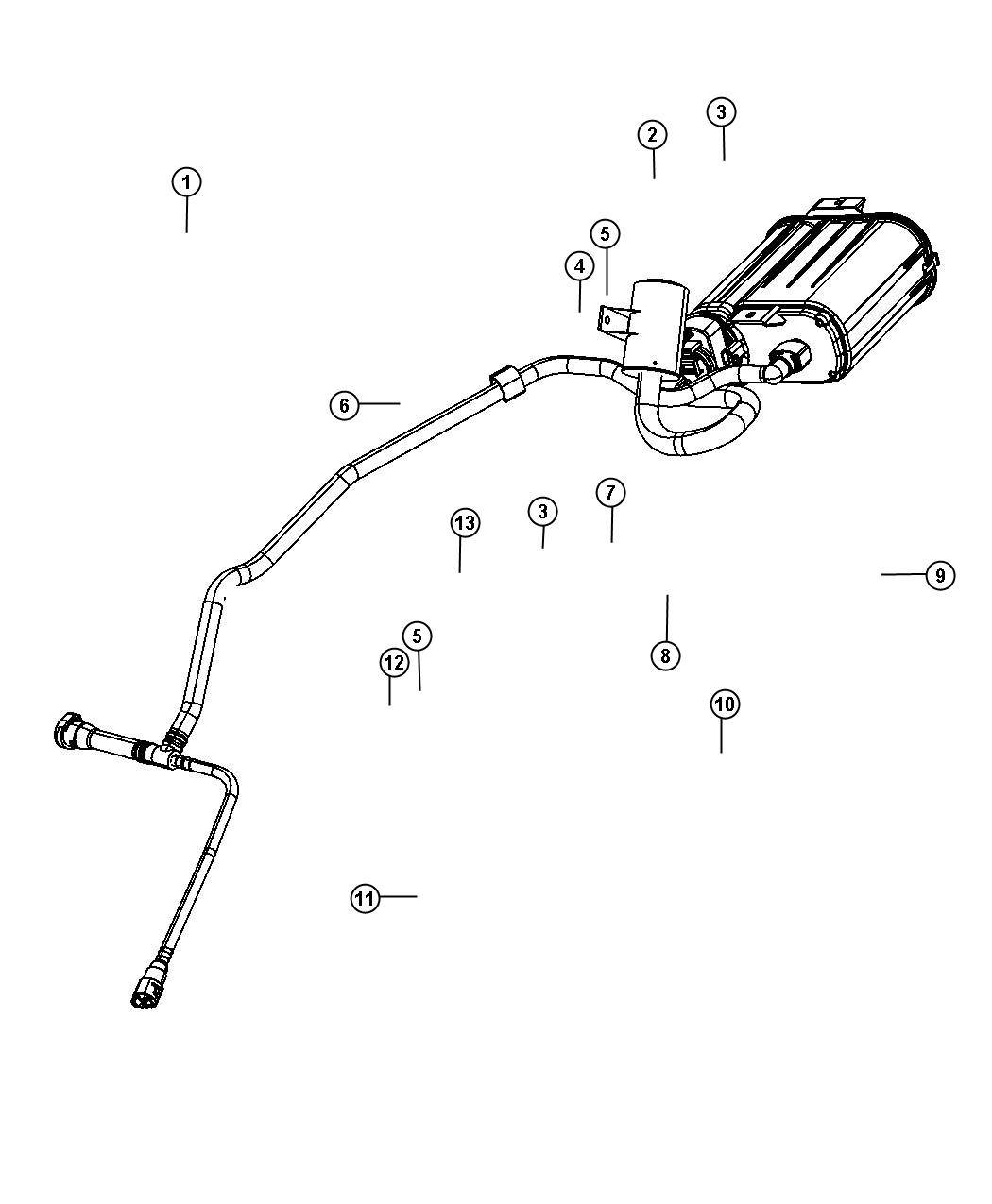 2012 Dodge Avenger Vapor Canister and Leak Detection Pump.