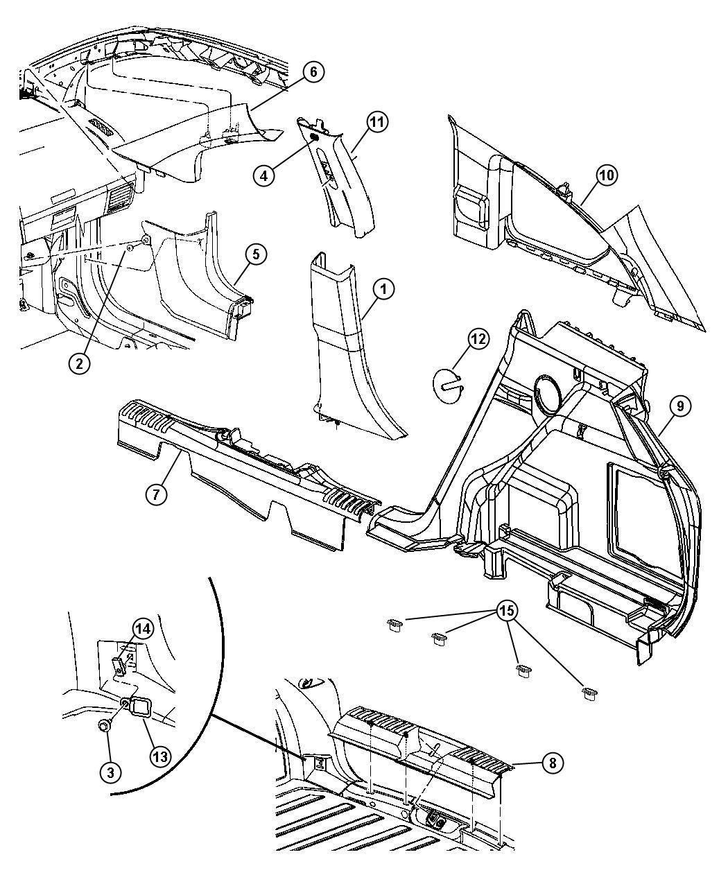 Dodge Caliber Molding. A pillar. Right. [dv], [v3]. Trim