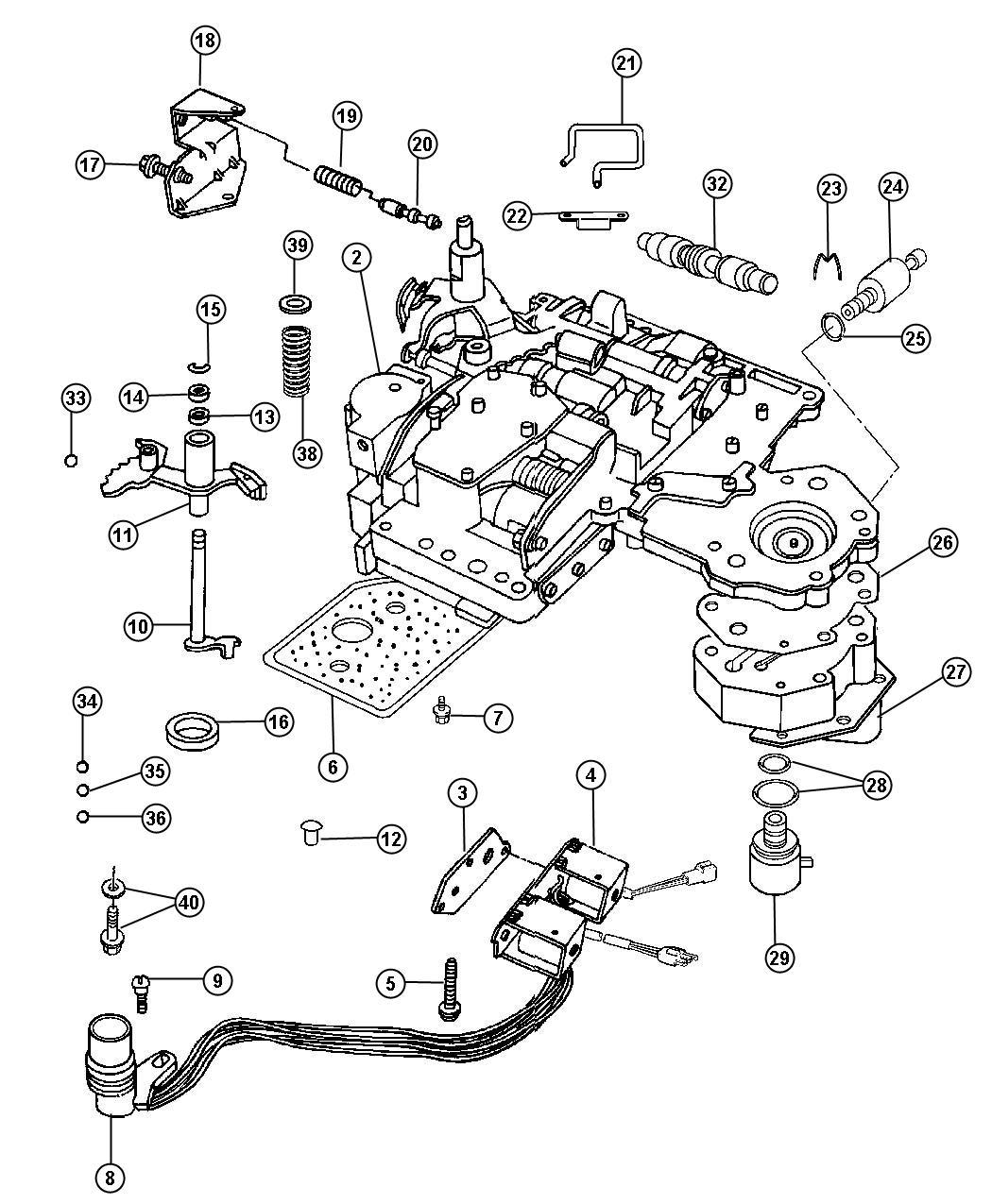 Dodge Ram 2500 Body, lever, valve body. Manual valve