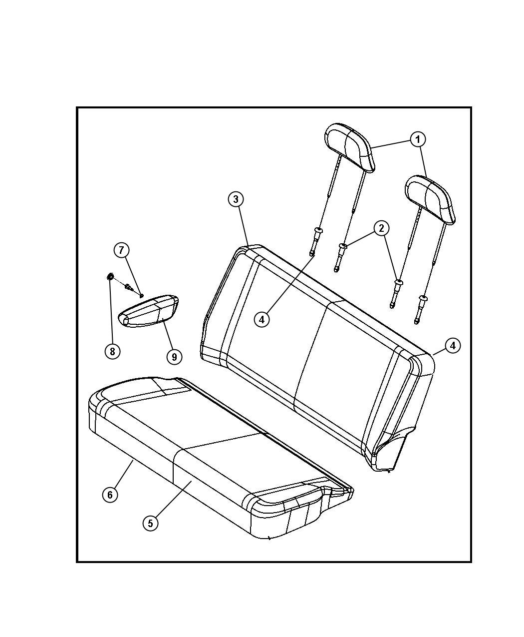 Chrysler Town & Country Sleeve. Headrest. Locking. [ll