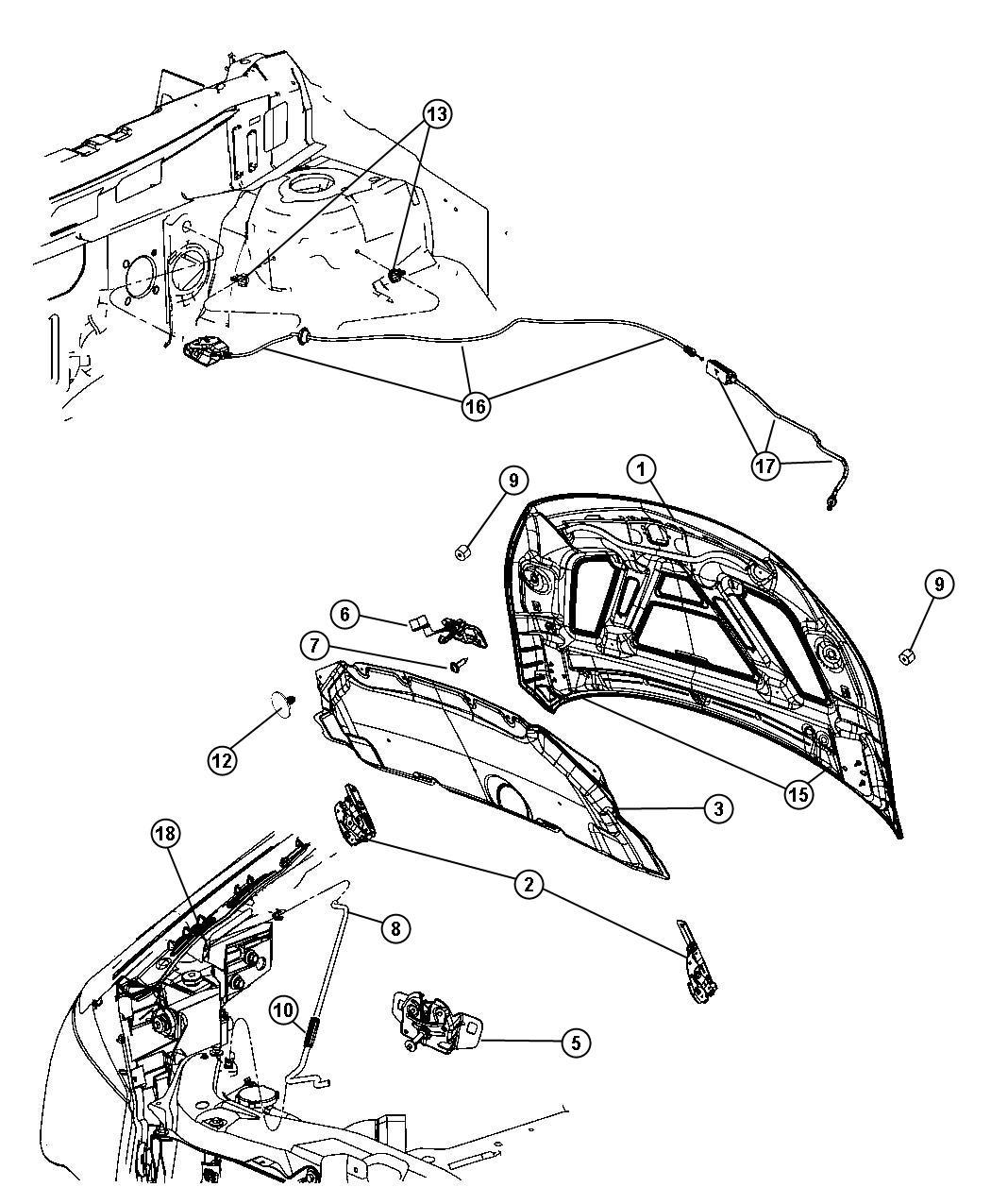 Dodge Nitro Bushing Hood Prop Rod Pivot