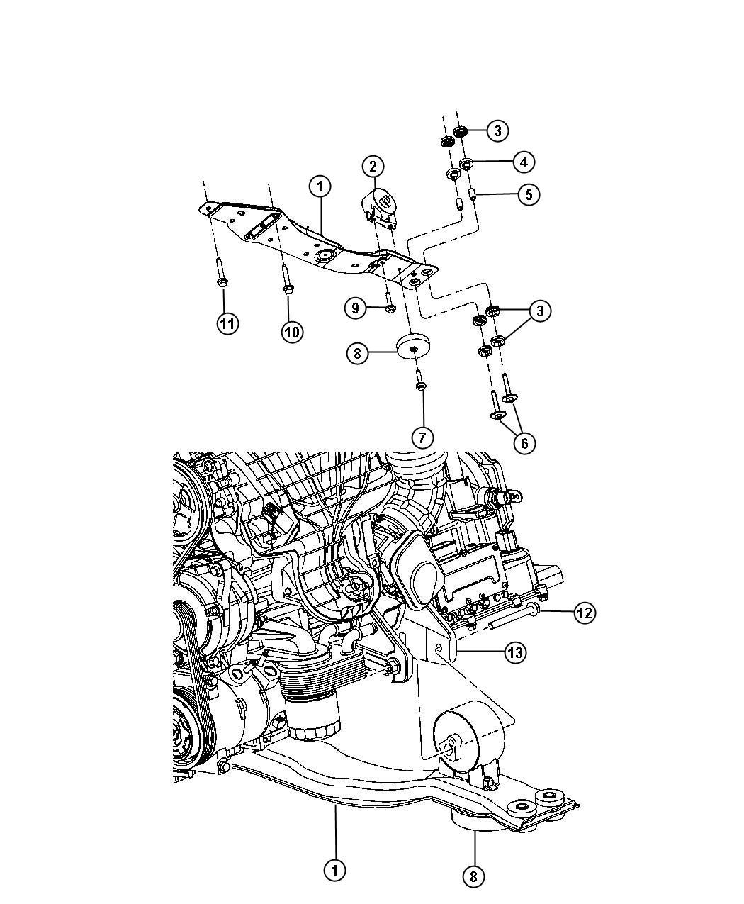 2012 Dodge Journey Engine Mounting Front AWD 3.6L [3.6L V6