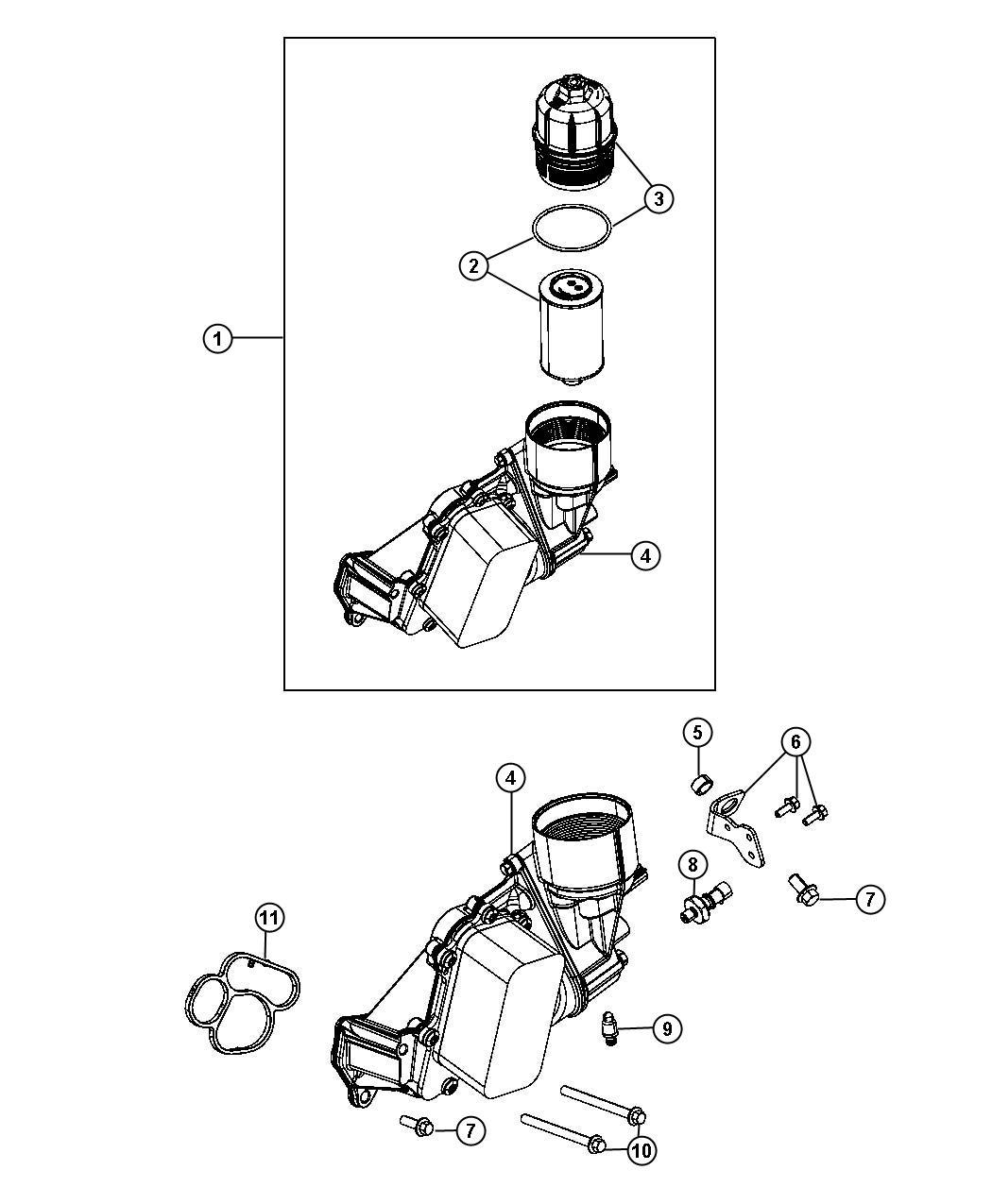 2014 Jeep Filter. Engine oil. [nb4], [nbc]. Housingcooler