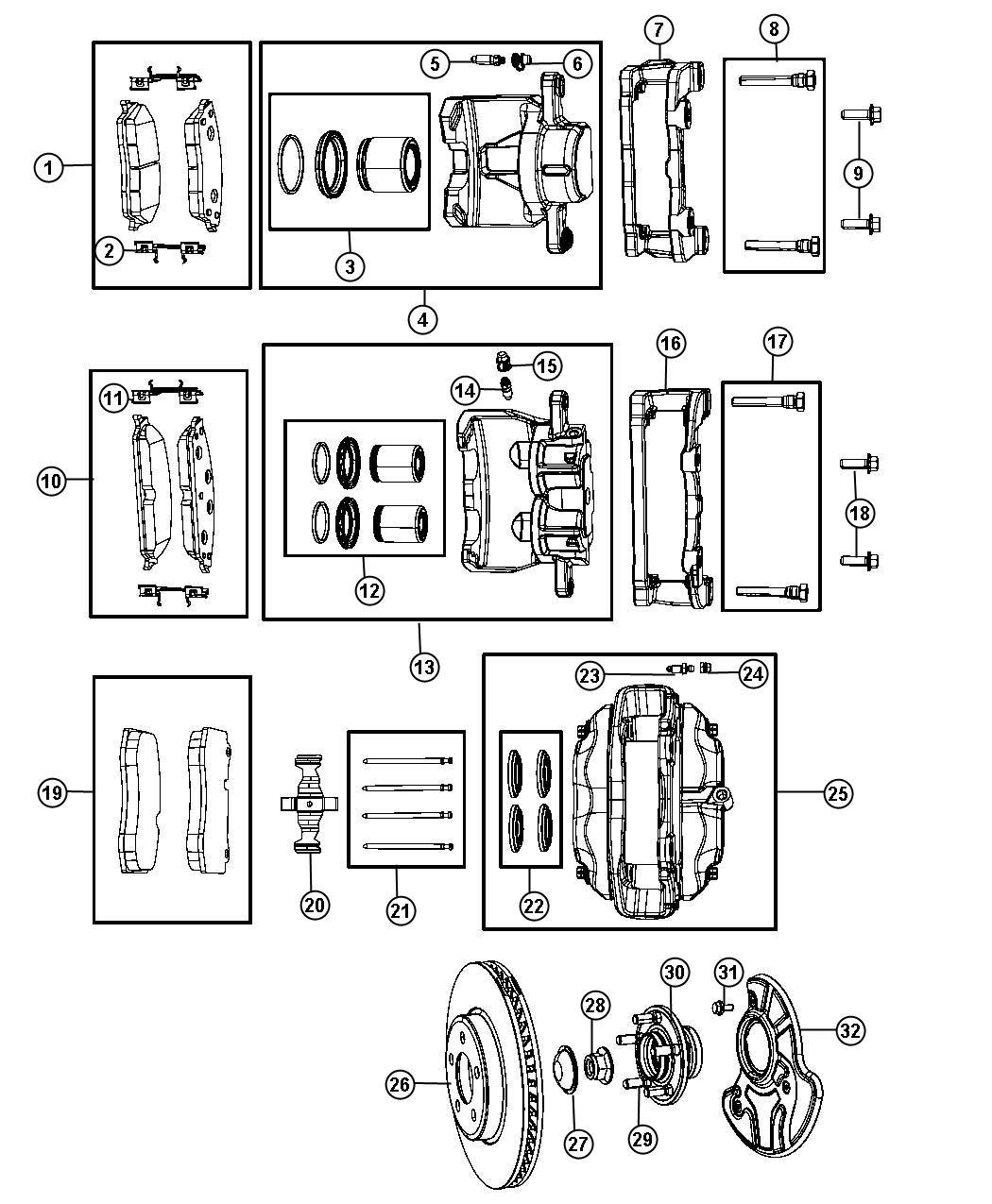 Chrysler Caliper Caliper Assembly Disc Brake Front