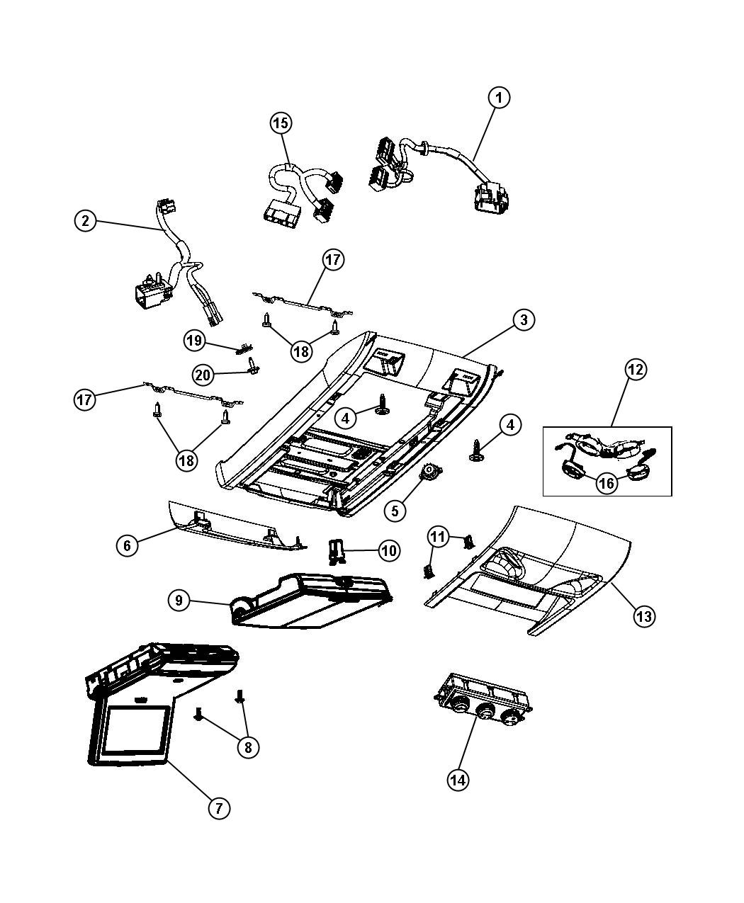 Dodge Grand Caravan Wiring. Jumper, overhead console. Dvd