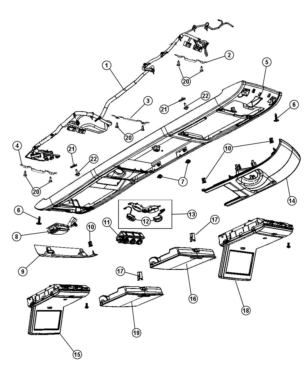 Dodge Grand Caravan Wiring. Canada. Overhead console. Trim