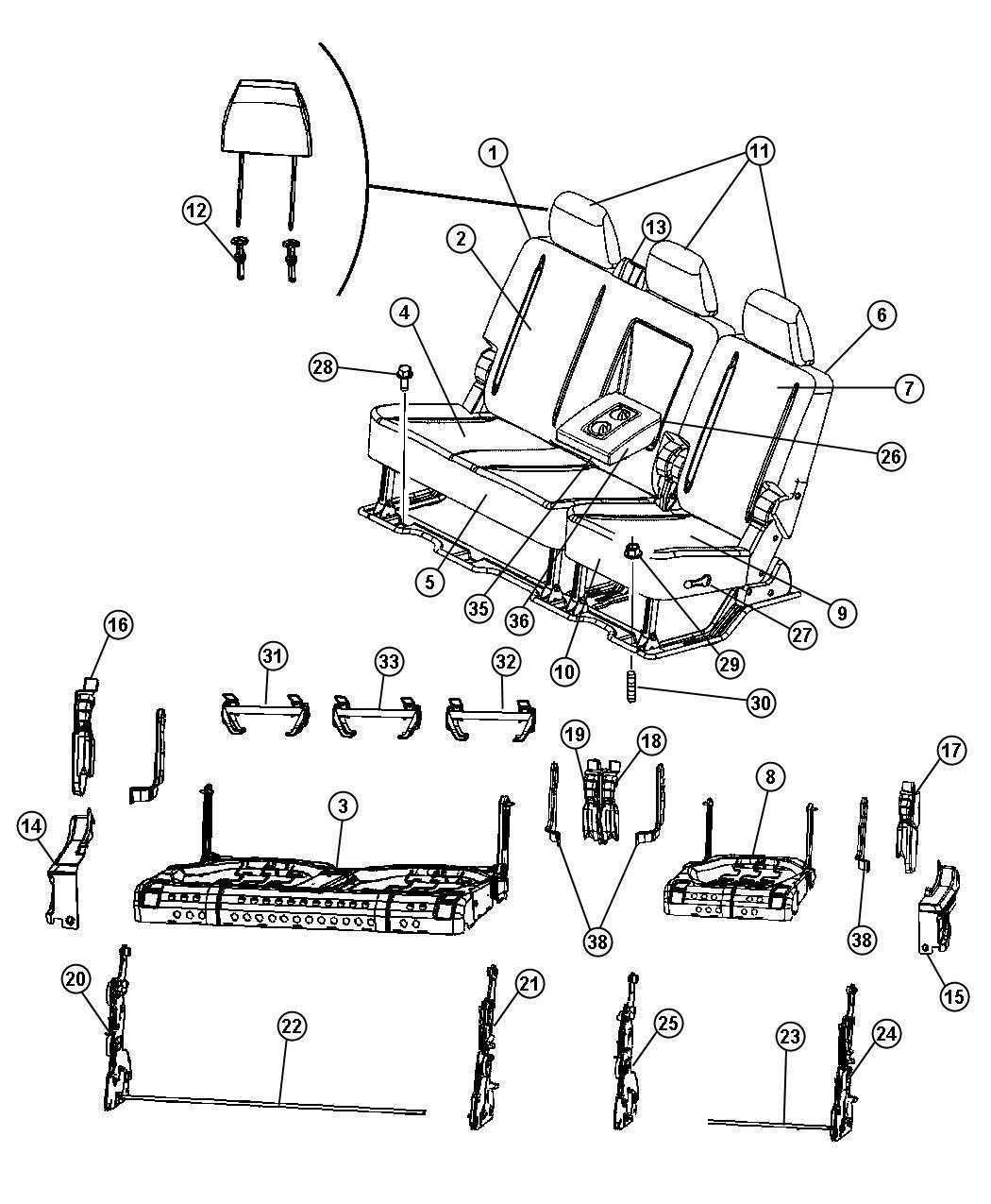 RAM 3500 Headrest. Rear. Center. [dk slate gray/russet
