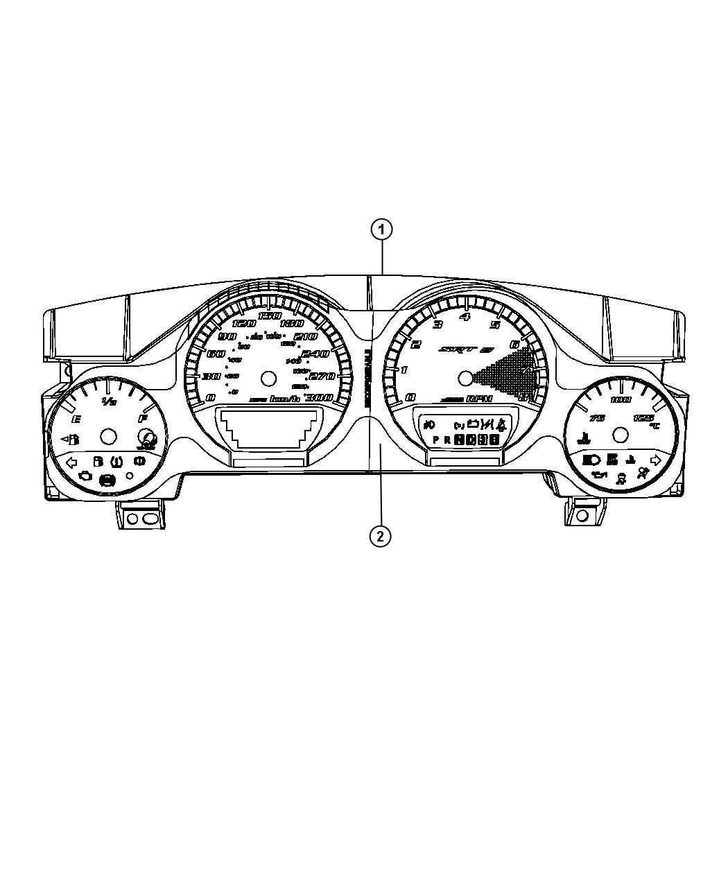 Dodge Challenger Cluster. Instrument panel. [260 kph
