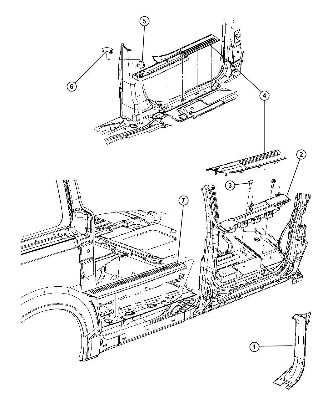 Dodge Grand Caravan Plate. Scuff. Right. Trim: [no