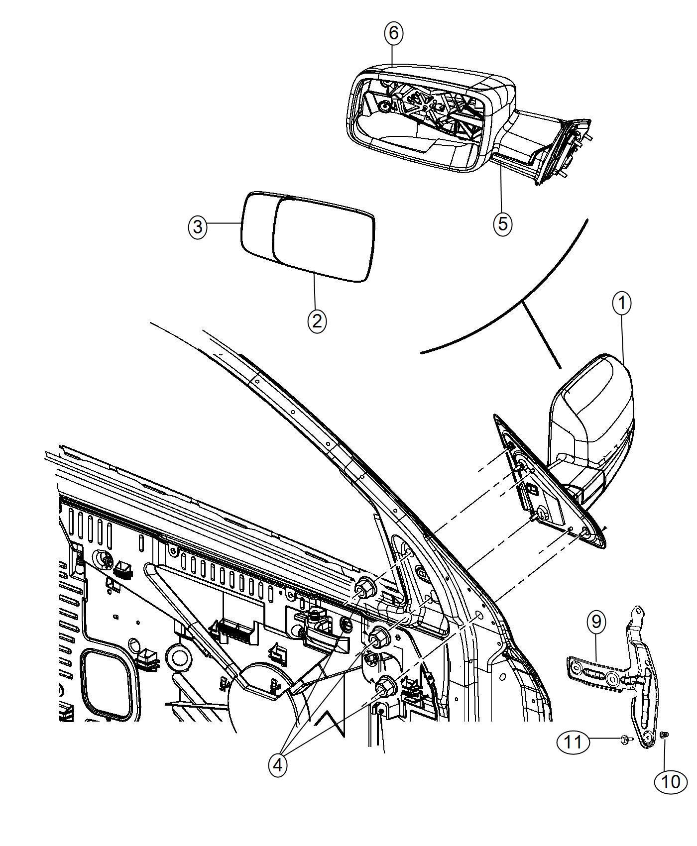 RAM 1500 Mirror. Left. Outside rearview. Gpd, leg