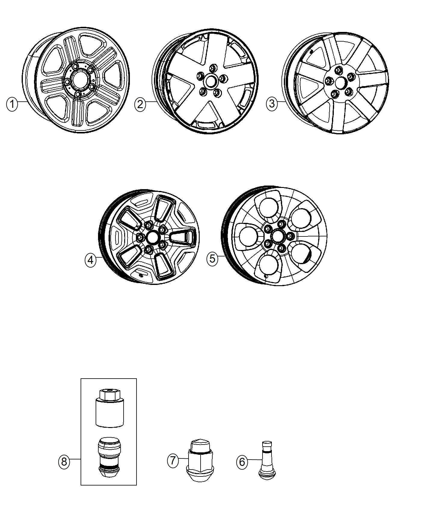 Jeep Wrangler Wheel. Aluminum. Front or rear. [18x7.5