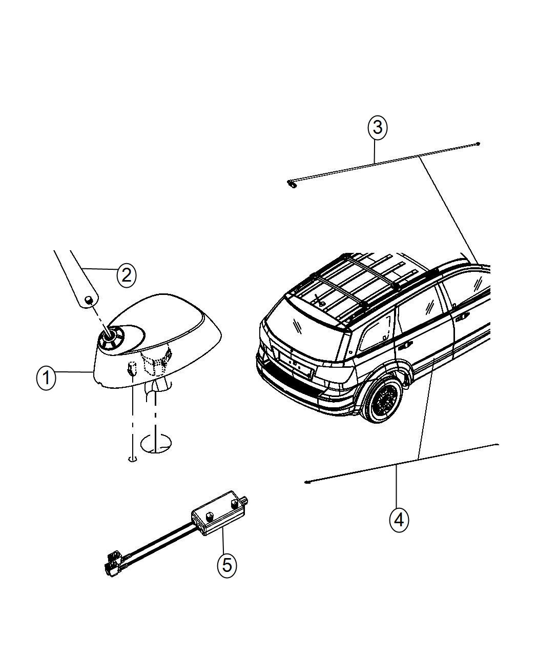 2013 Dodge Journey Antenna, cable. Base cable and bracket