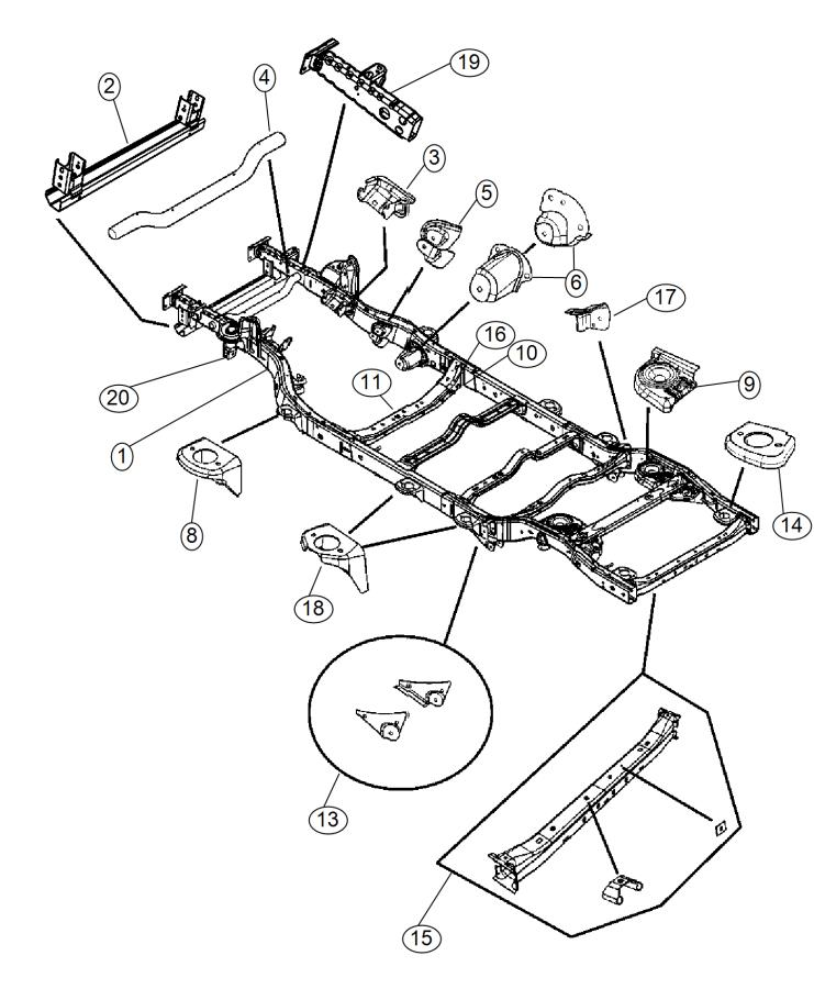 2015 Jeep Wrangler Extension. Front rail. Right