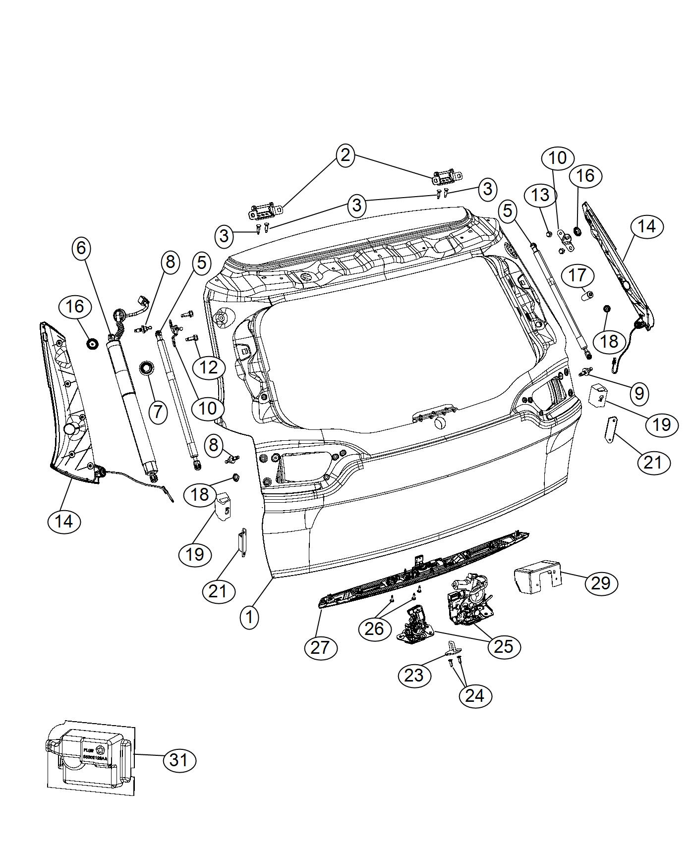 Jeep Cherokee Support Right Liftgate Gas Cylinder