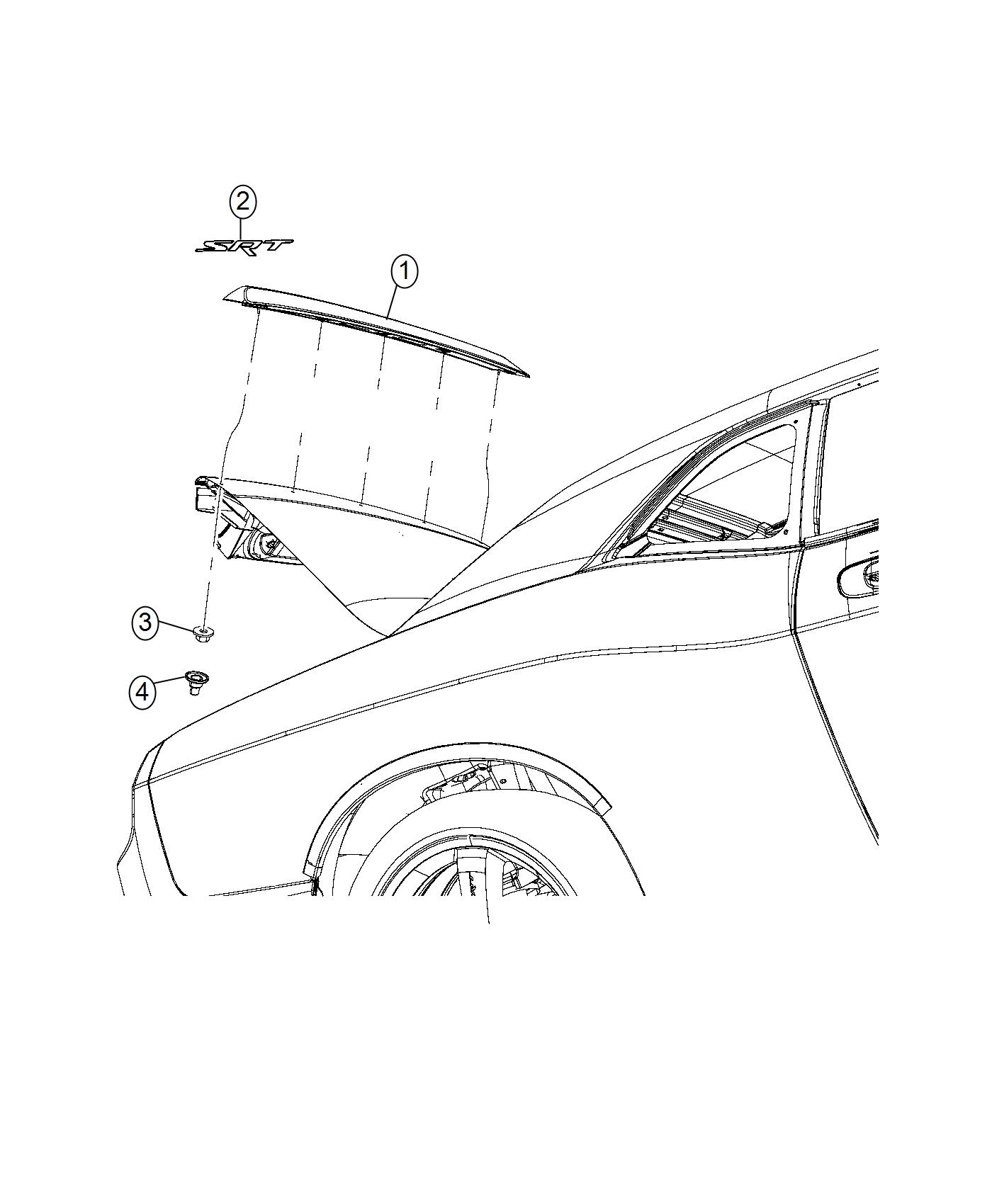 2016 Dodge Challenger SXT 3.6L V6 A/T Spoiler. Rear. [rear