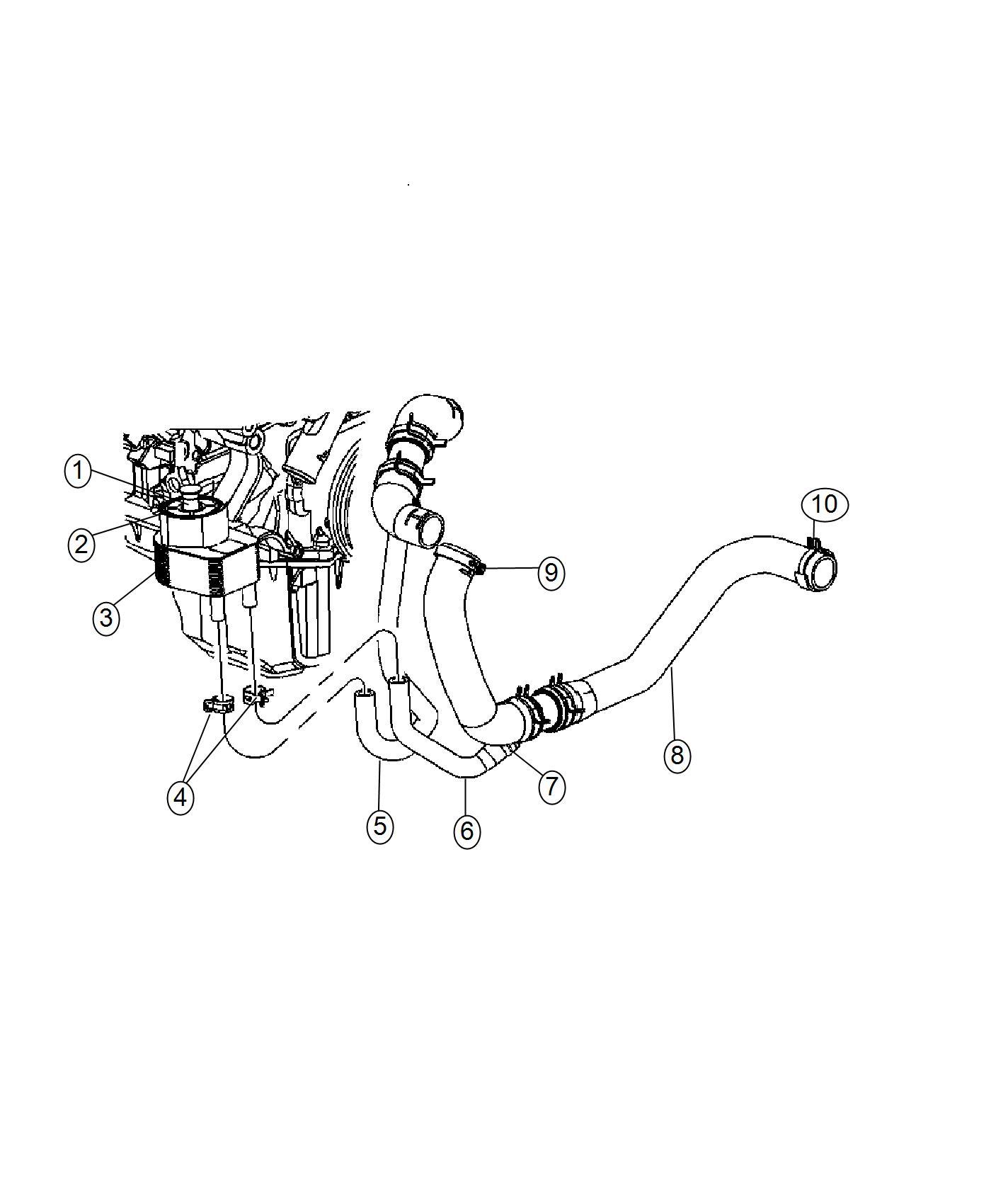 2016 Dodge Charger Hose. Engine coolant to oil cooler