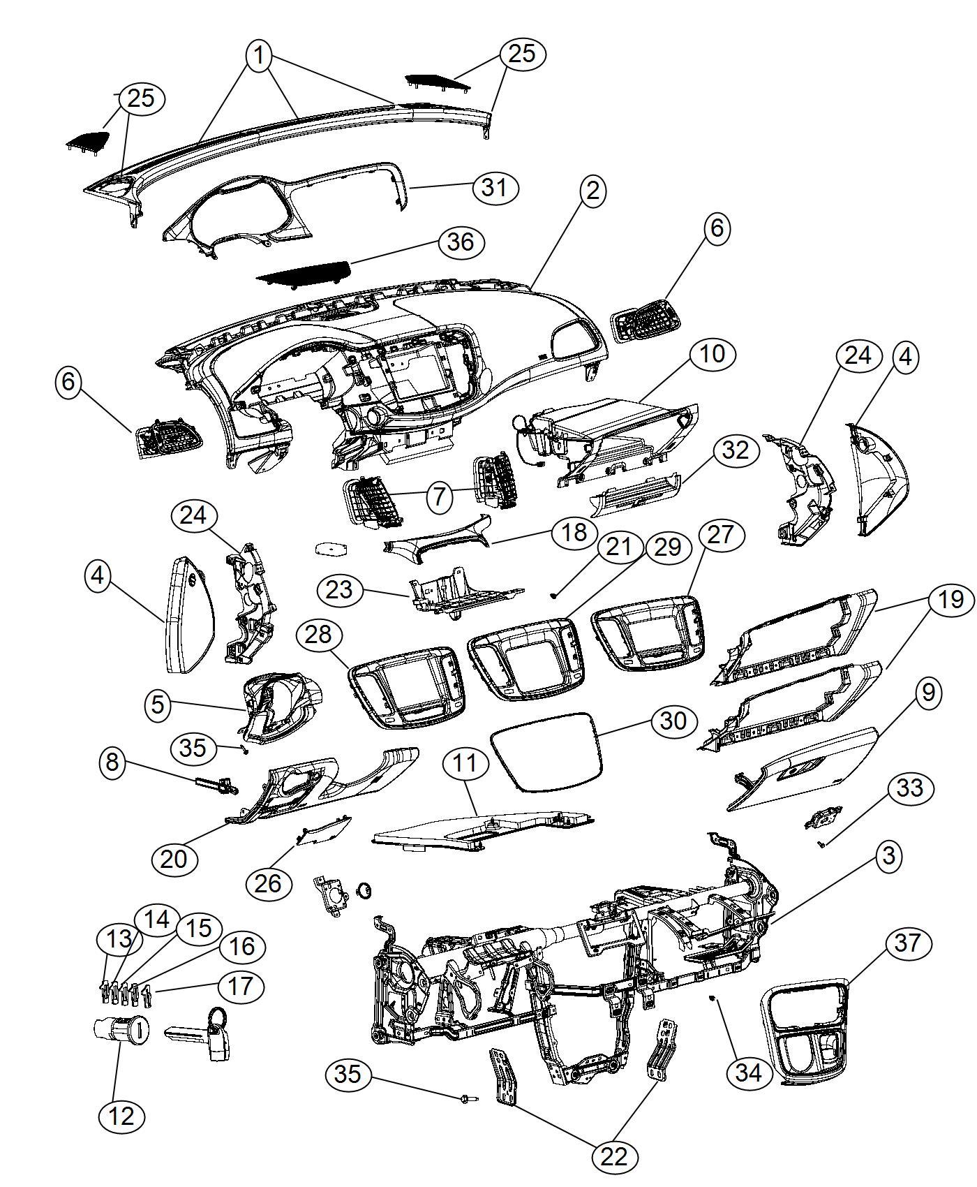 Chrysler 200 Bracket. Instrument panel. Right, right hand