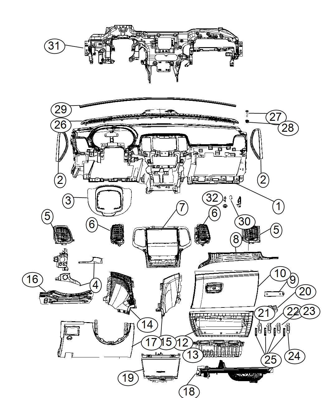 2017 Jeep Grand Cherokee Instrument panel. Base panel
