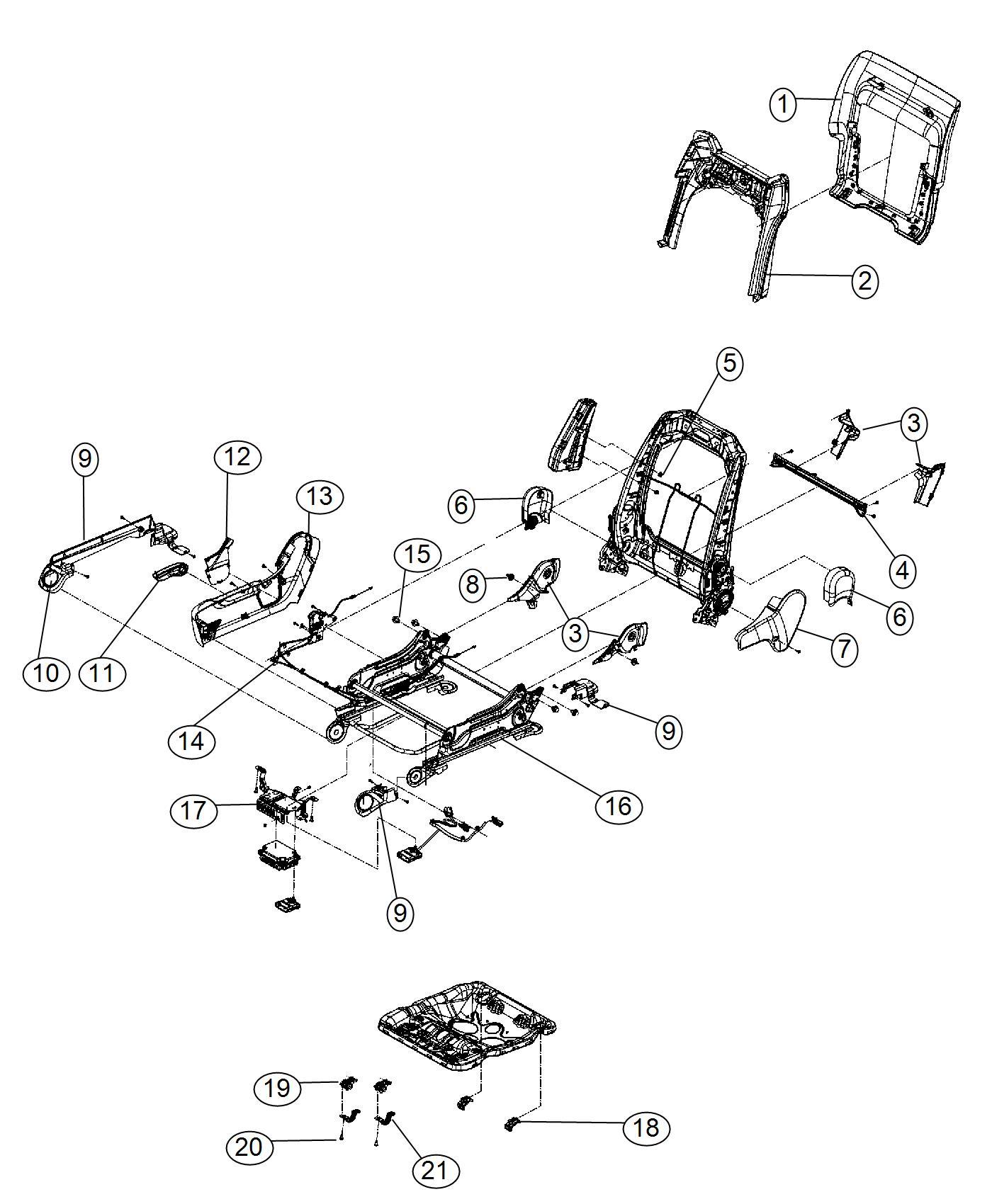 Dodge Durango Shield. Seat adjuster. Outer. Export