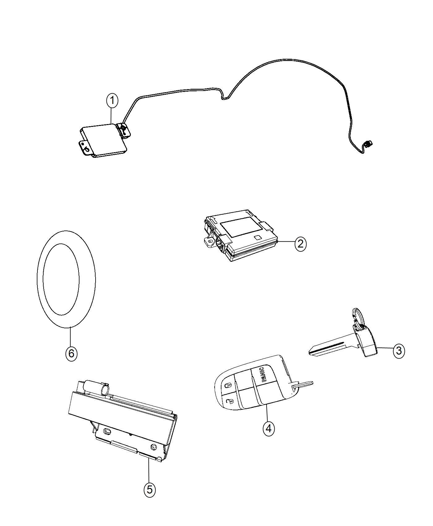 2017 Jeep Grand Cherokee Transmitter. Integrated key fob