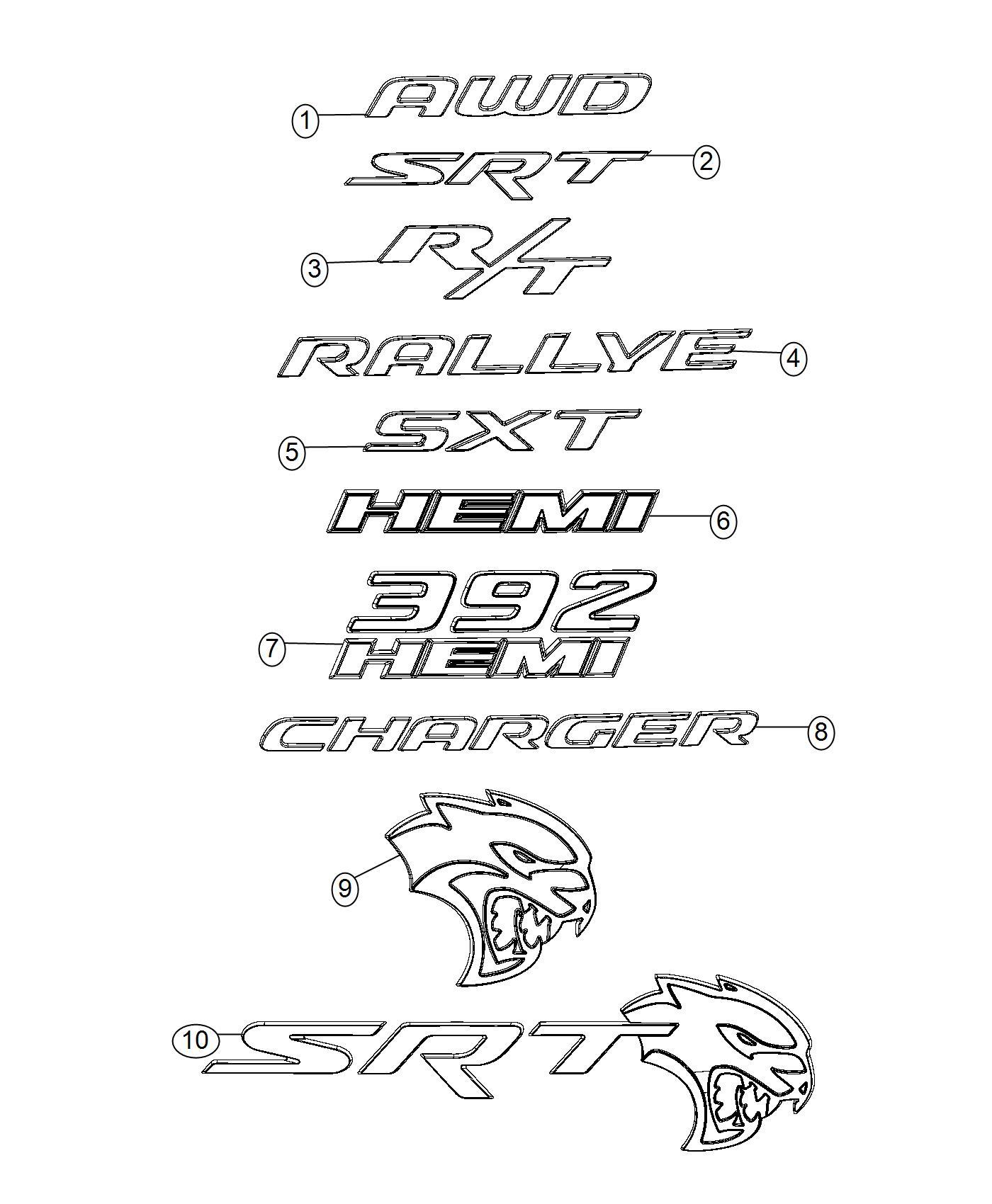 Dodge Charger Nameplate Hemi Hemi Badge