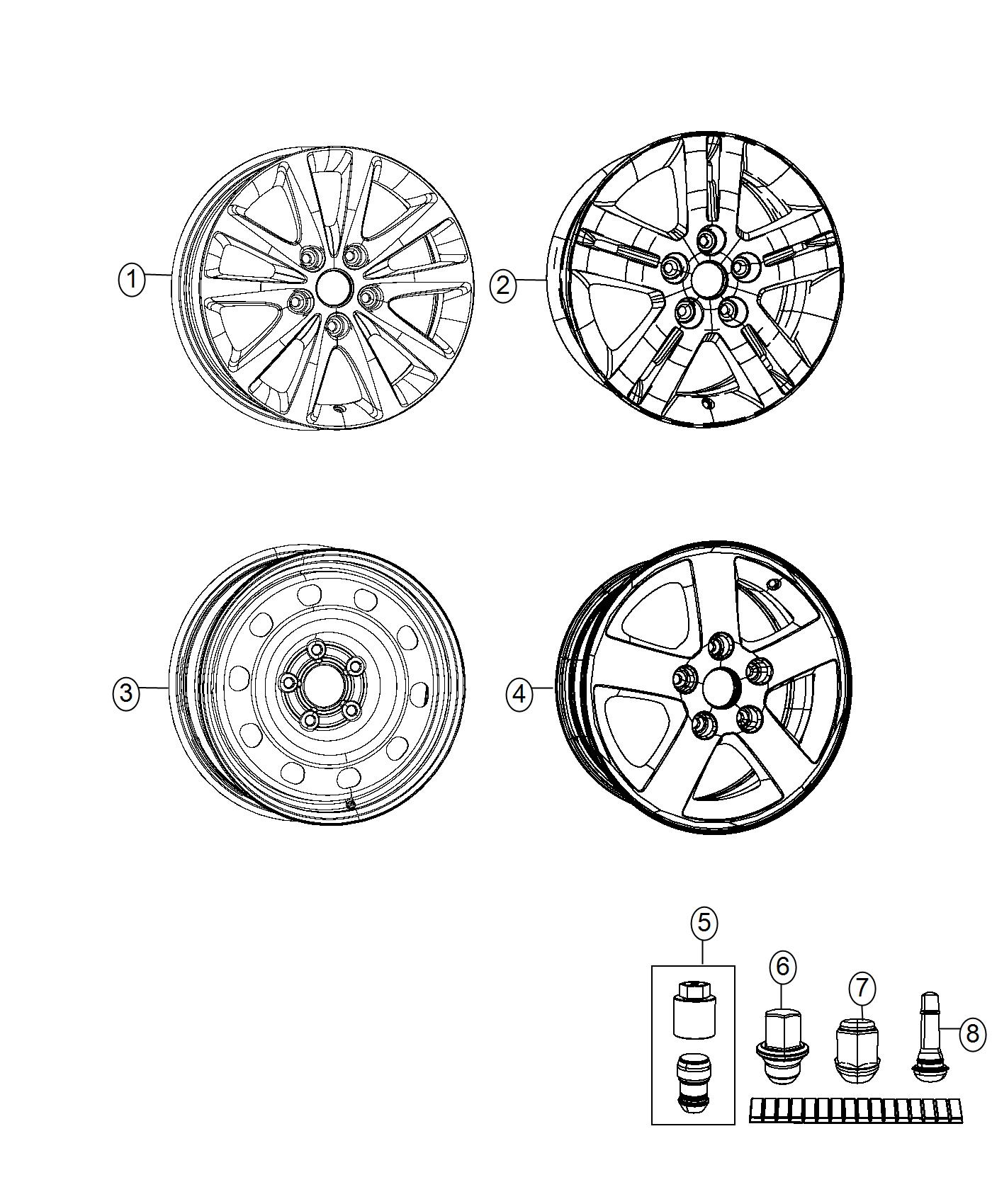 2017 Dodge Grand Caravan Wheel. Aluminum. Front or rear