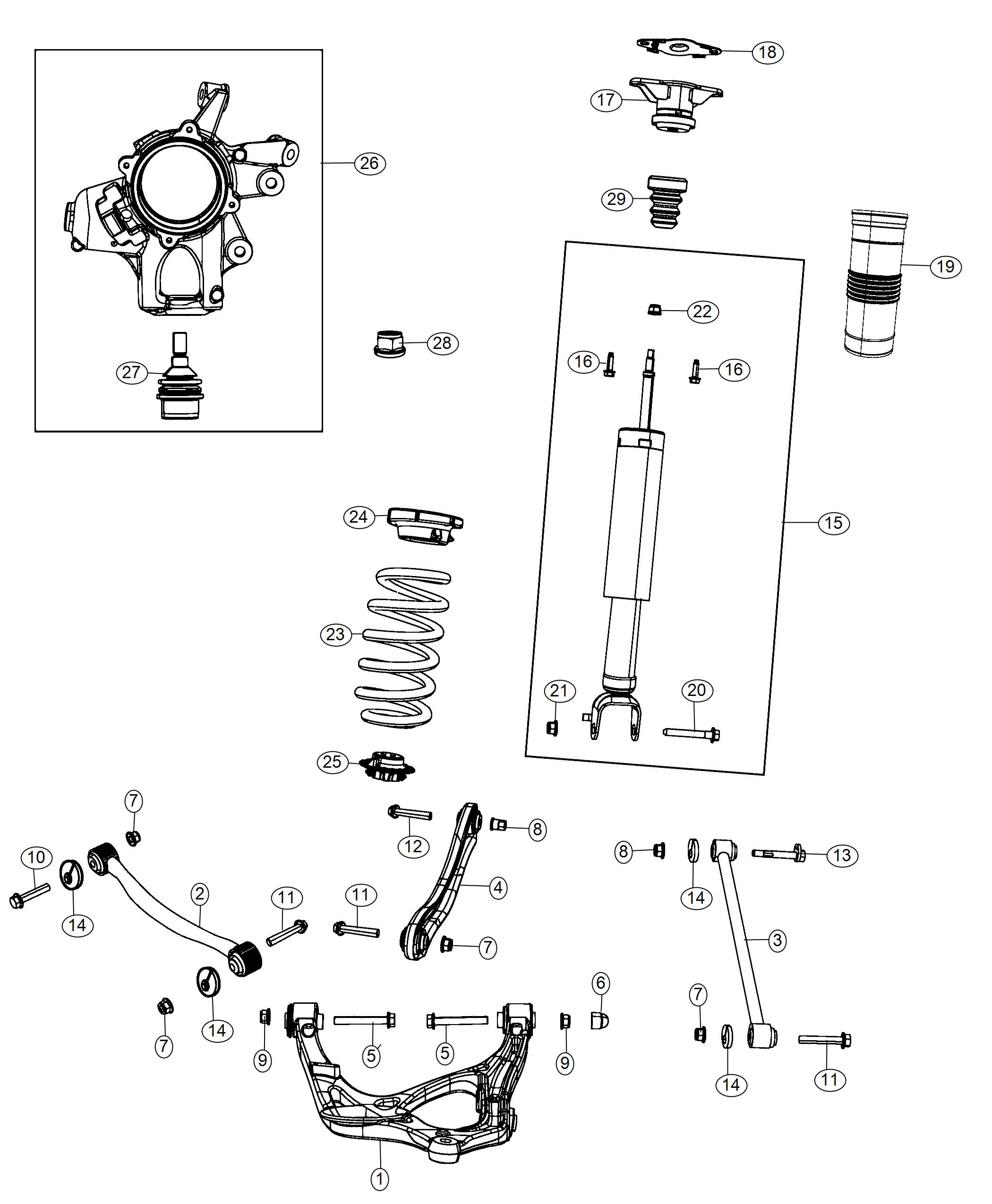 Jeep Grand Cherokee Shock absorber kit. Suspension. Rear