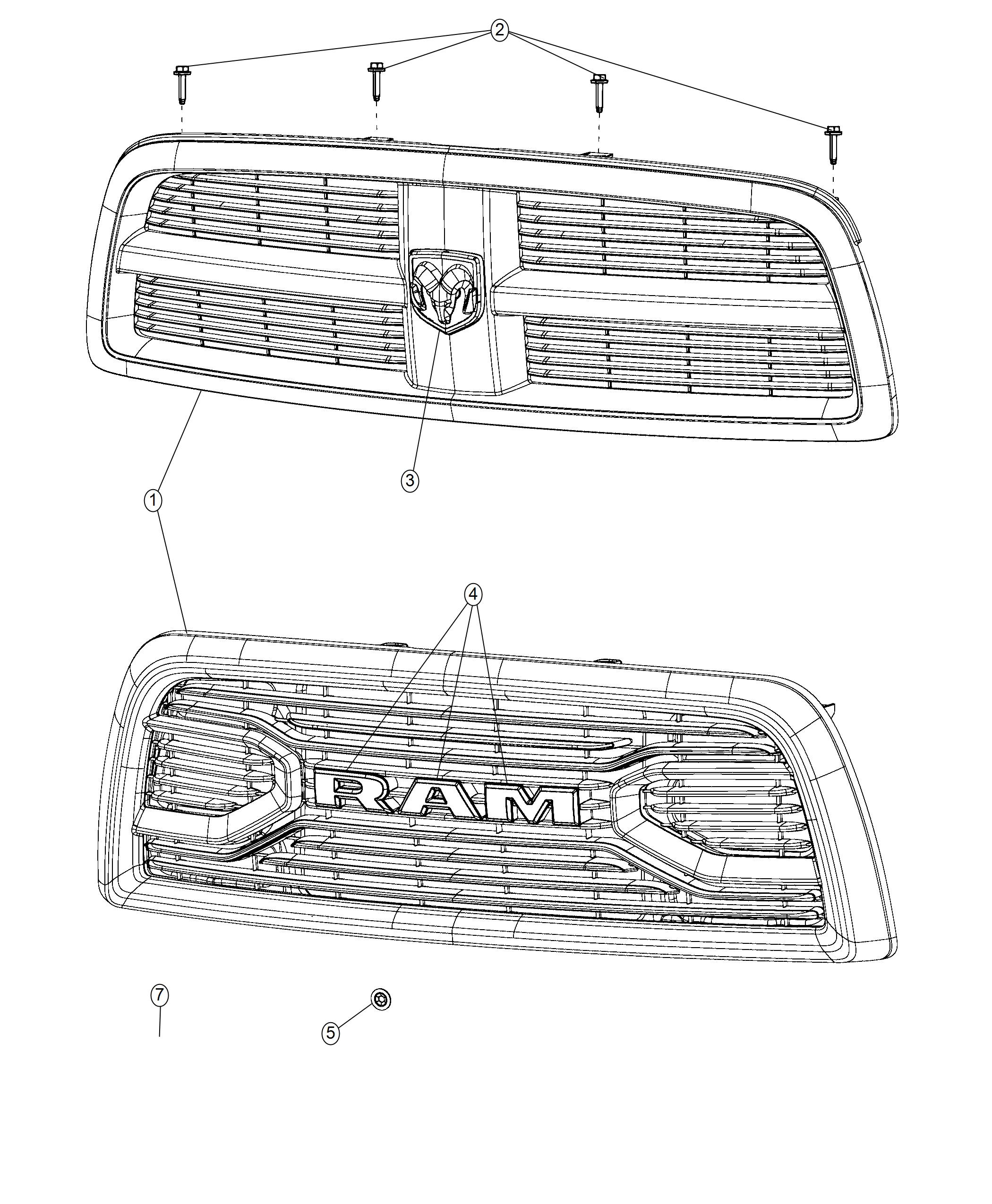 RAM 3500 Grille. Radiator. [front end parts module