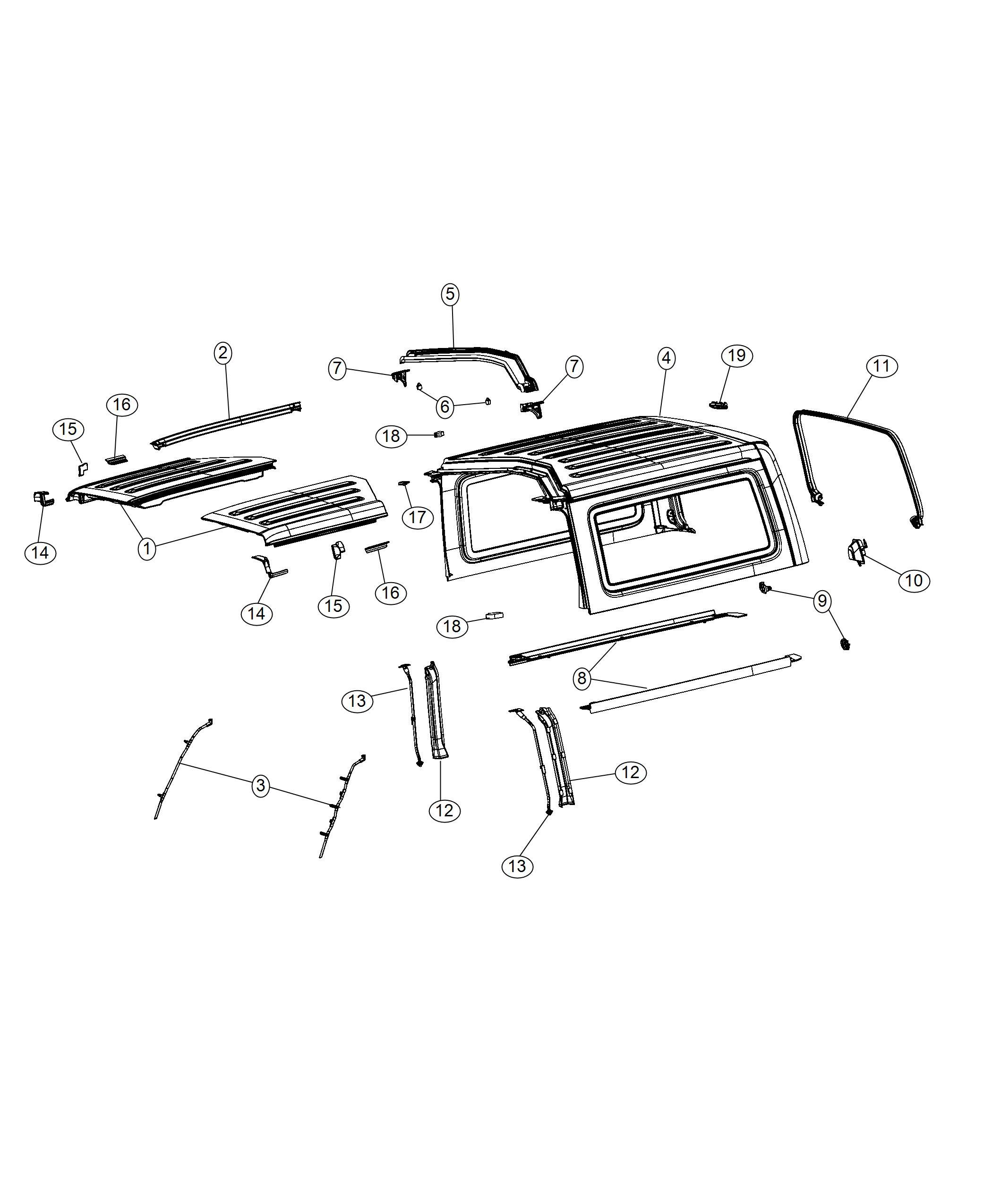 Jeep Wrangler Seal. Targa top. [black 3-piece hard top