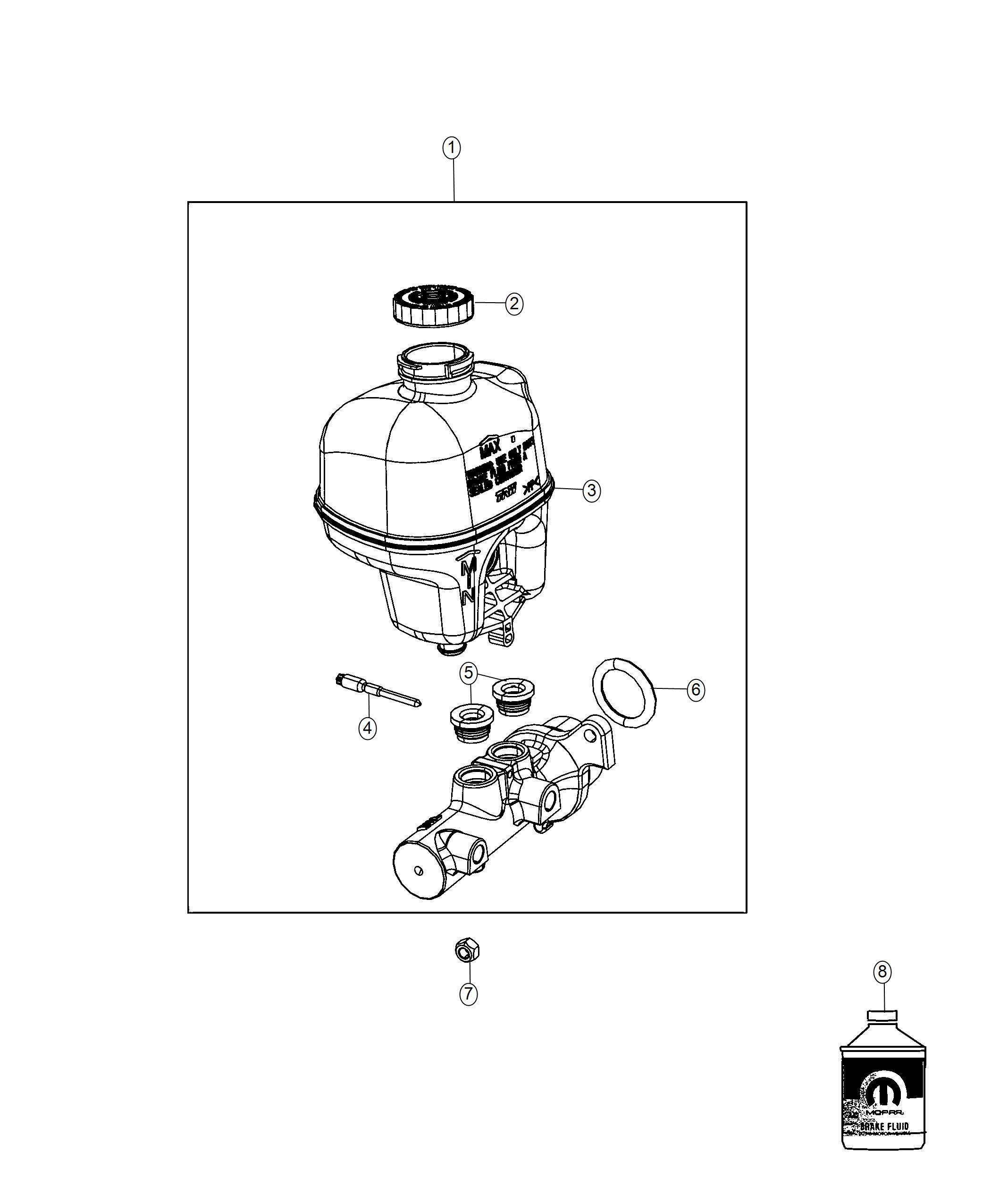 Ram Reservoir Brake Master Cylinder Anti Lock 4