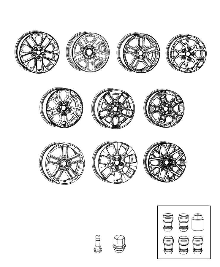 Jeep Wrangler Wheel. Aluminum. Front or rear. Color: [no