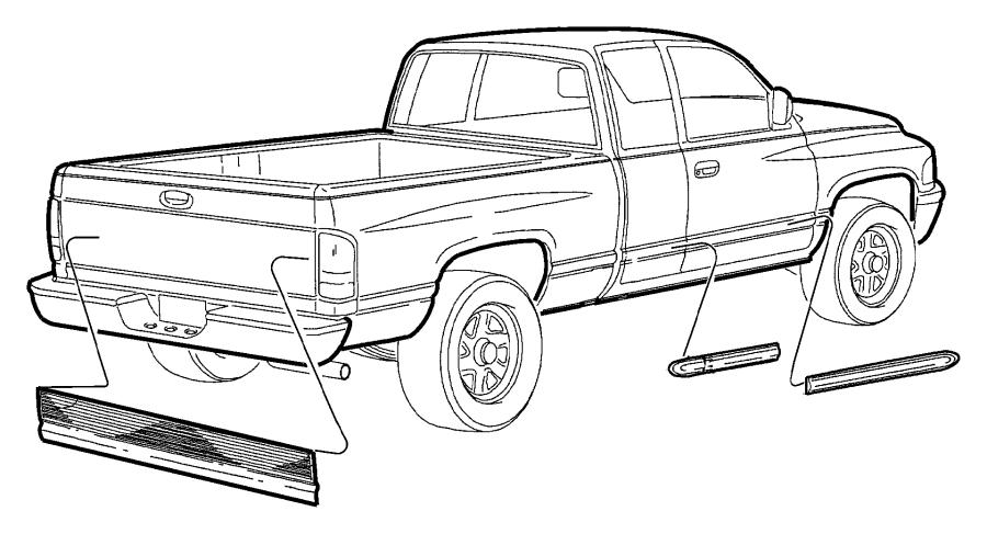 1999 Dodge Ram 3500 Applique. Tailgate. Blackdual