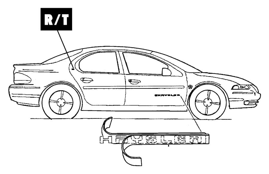 Plymouth Neon Emblem. R/t. Front door, standard. Deck lid
