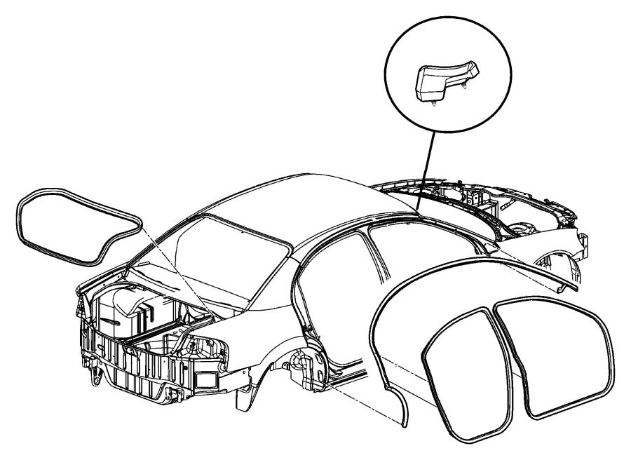 Chrysler Sebring Weatherstrip. Rear door opening. Right