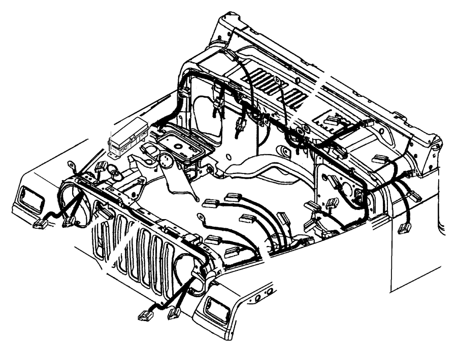 Jeep Wrangler Wiring. Dash panel. With abs & with daytime