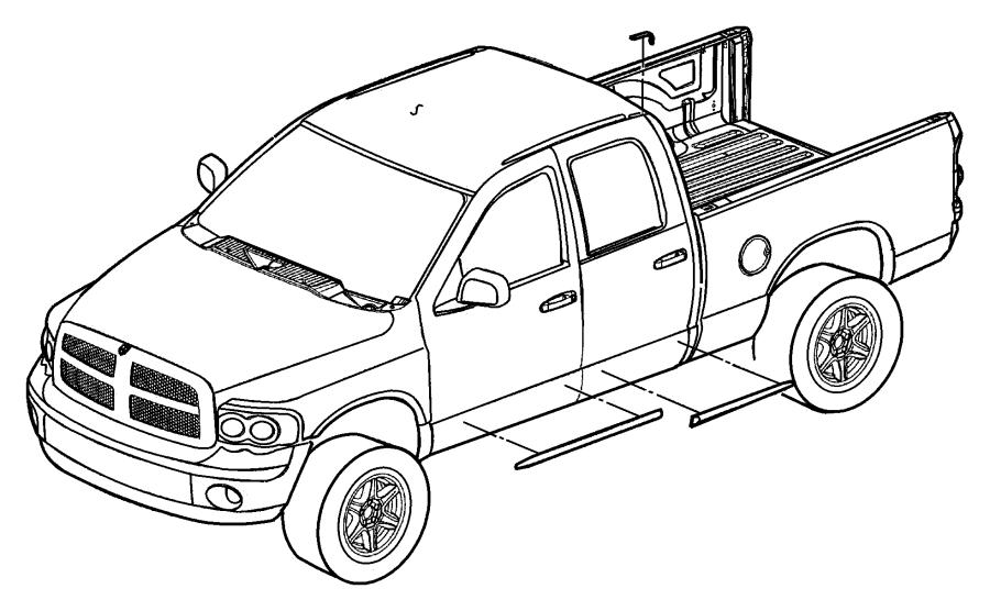 Dodge Ram 2500 Molding. Rear door. [stripe/badge/molding