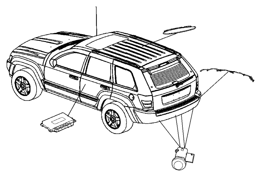 Jeep Grand Cherokee Harness, wiring. Rear fascia, sensor