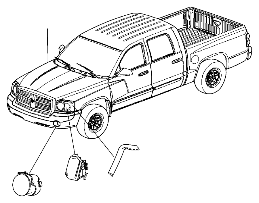 Dodge Dakota Lamp. Used for: headlamp park and turn. Left