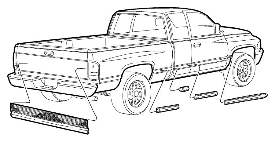 2001 Dodge Ram 1500 Applique. Tailgate. Blackdual