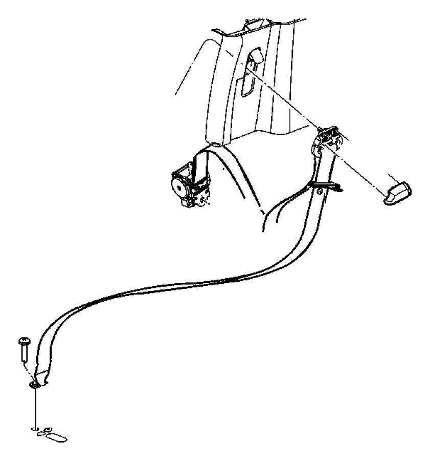 Dodge Durango Seat belt. Rear outer. Left. [j1], [j3