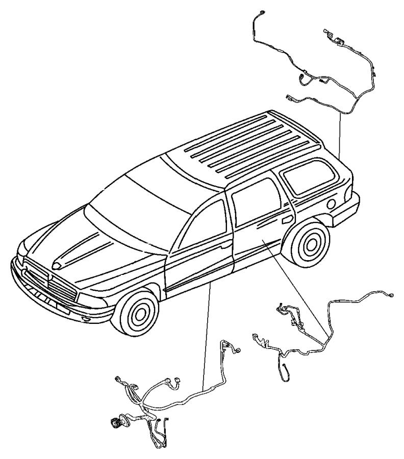 Chrysler Aspen Wiring. Rear door. [4 speakers